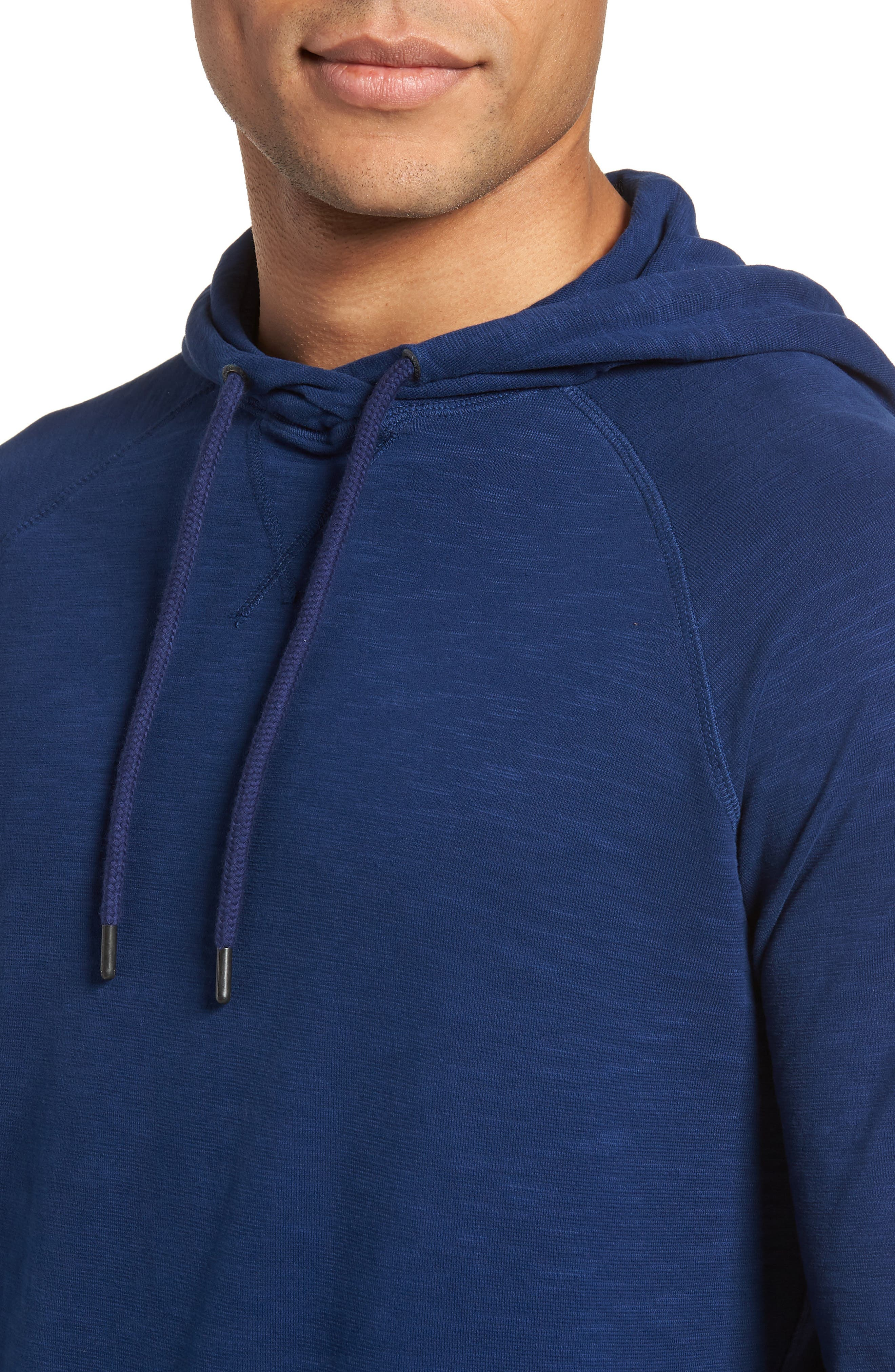 Trim Fit Pullover Hoodie,                             Alternate thumbnail 4, color,                             Blue