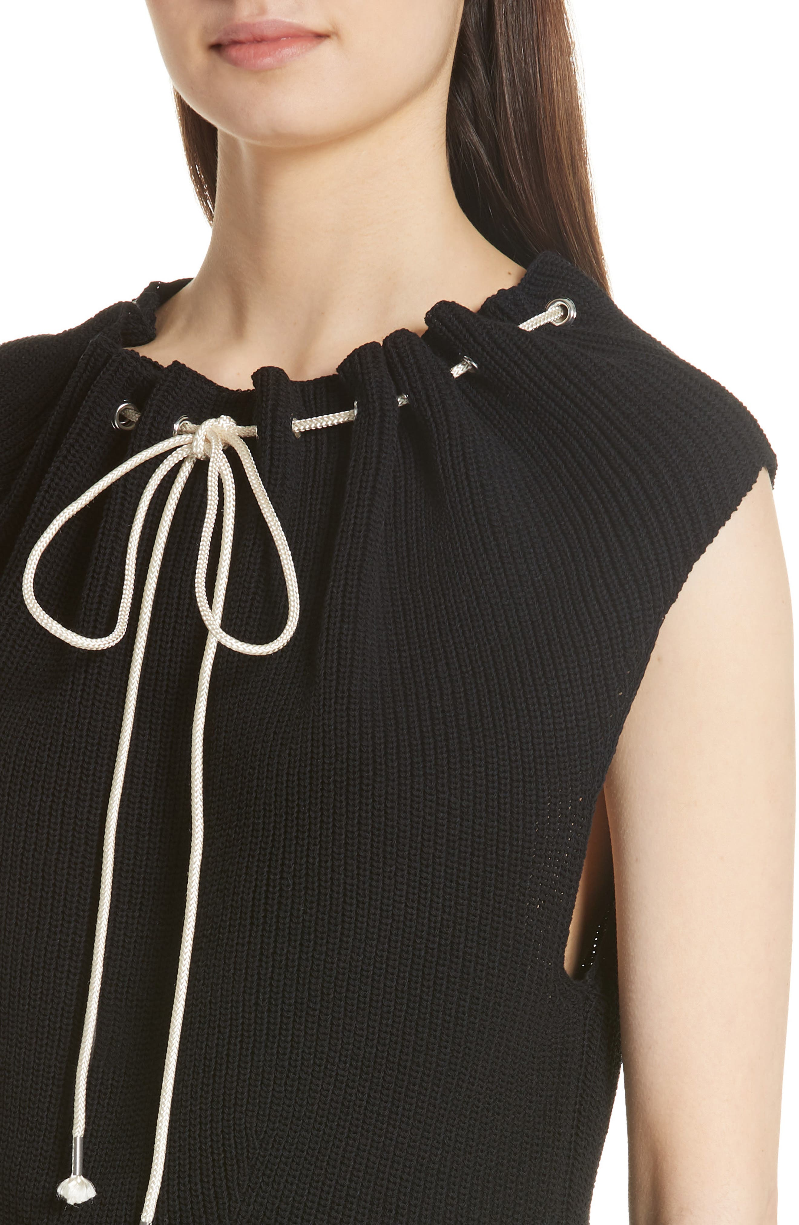 Drawstring Knit Top,                             Alternate thumbnail 4, color,                             Black
