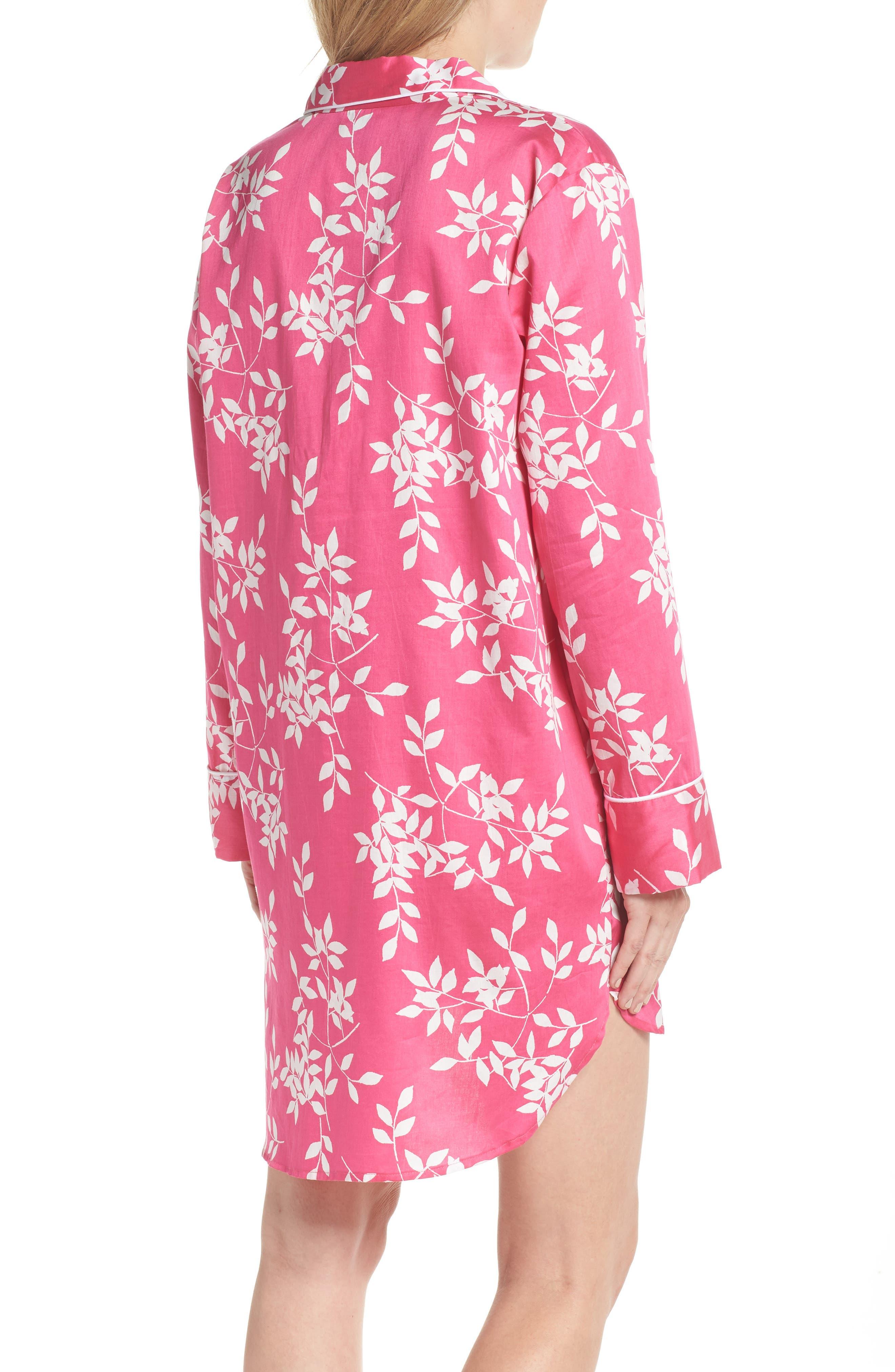 Branch Print Cotton Sateen Sleep Shirt,                             Alternate thumbnail 2, color,                             Hibiscus Pink
