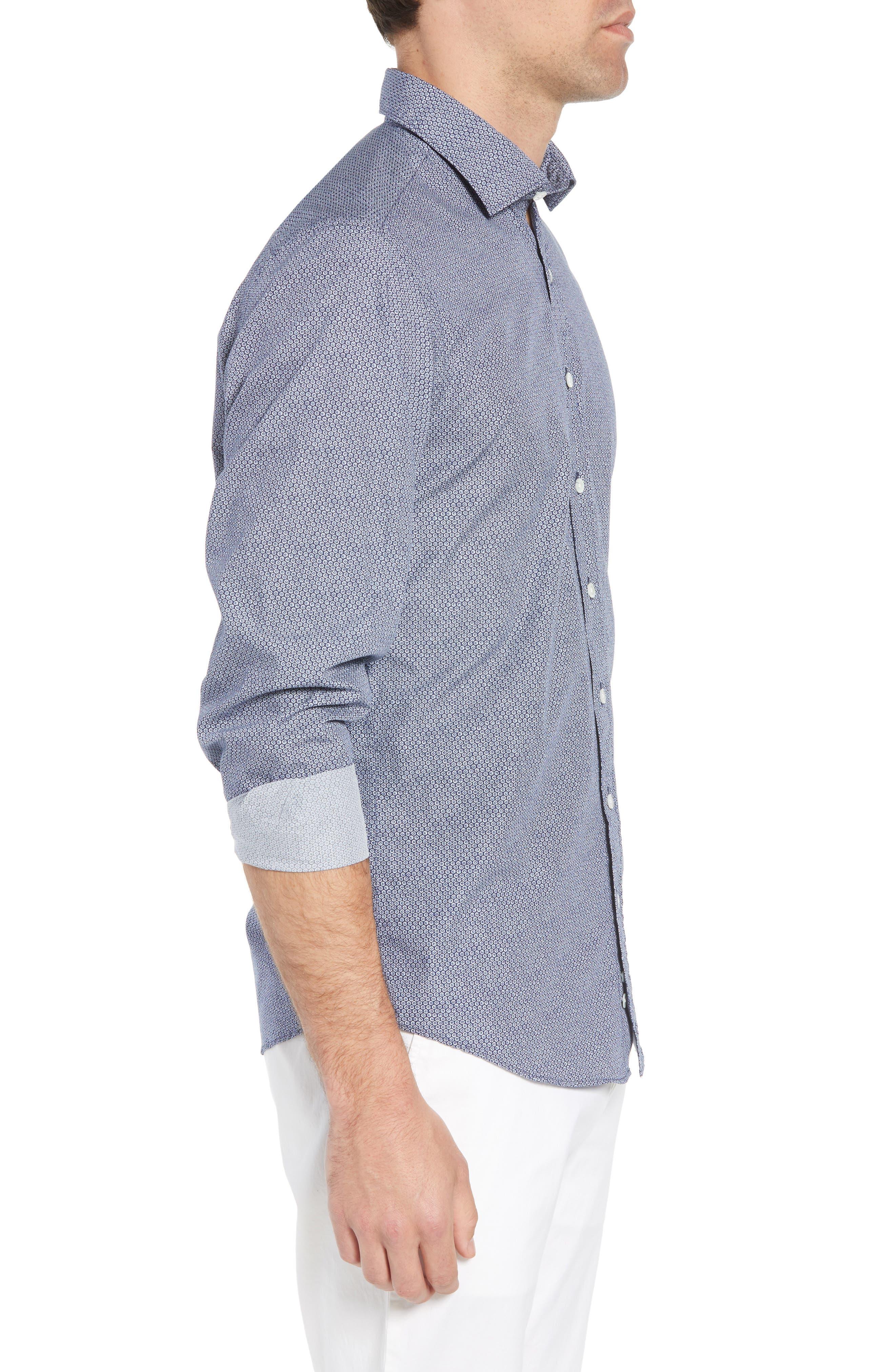 Beacon Point Regular Fit Sport Shirt,                             Alternate thumbnail 4, color,                             Navy
