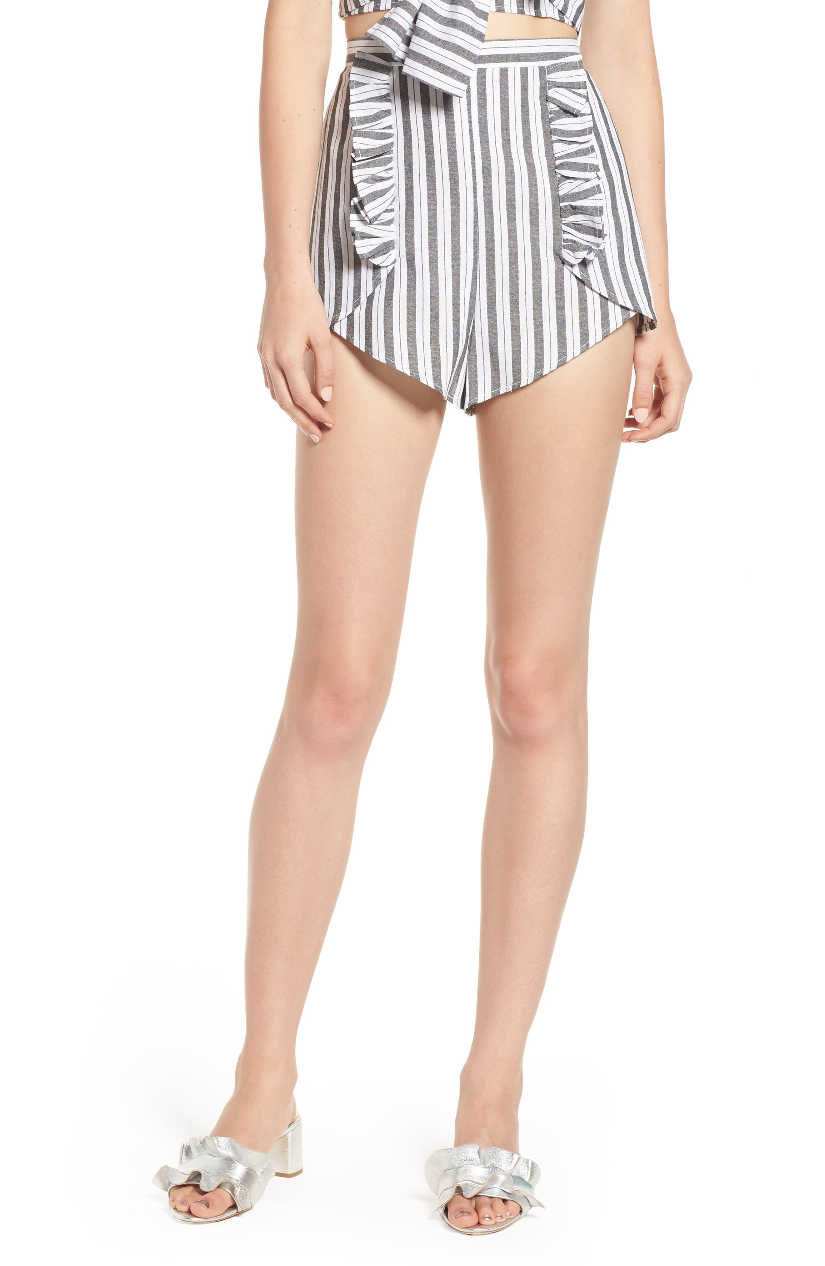 Acacia Stripe High Waist Shorts,                             Main thumbnail 1, color,                             Black W White