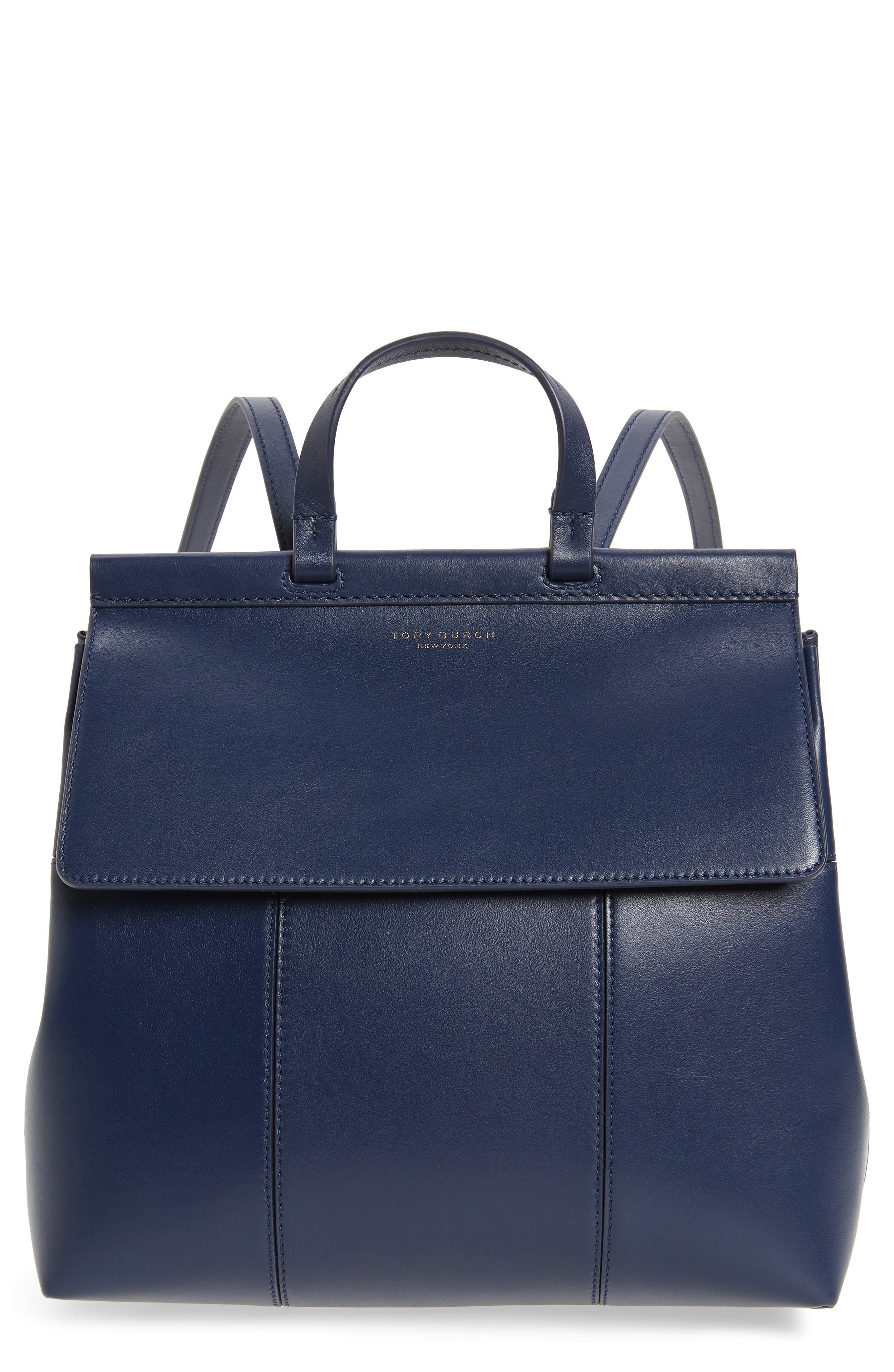 Block T Leather Backpack,                         Main,                         color, Royal Navy