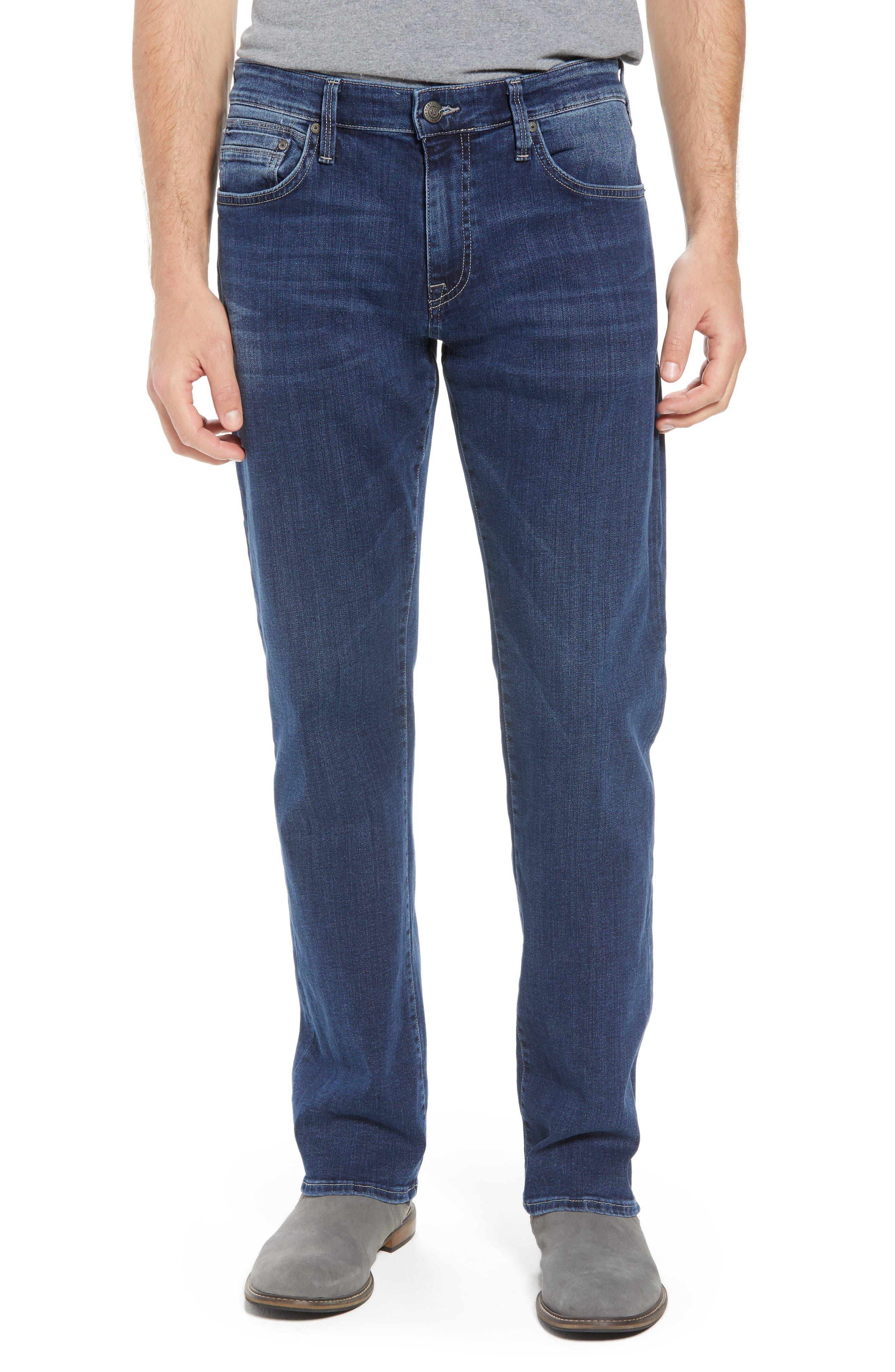 Zach Straight Leg Jeans,                         Main,                         color, Dark Blue Williamsburg