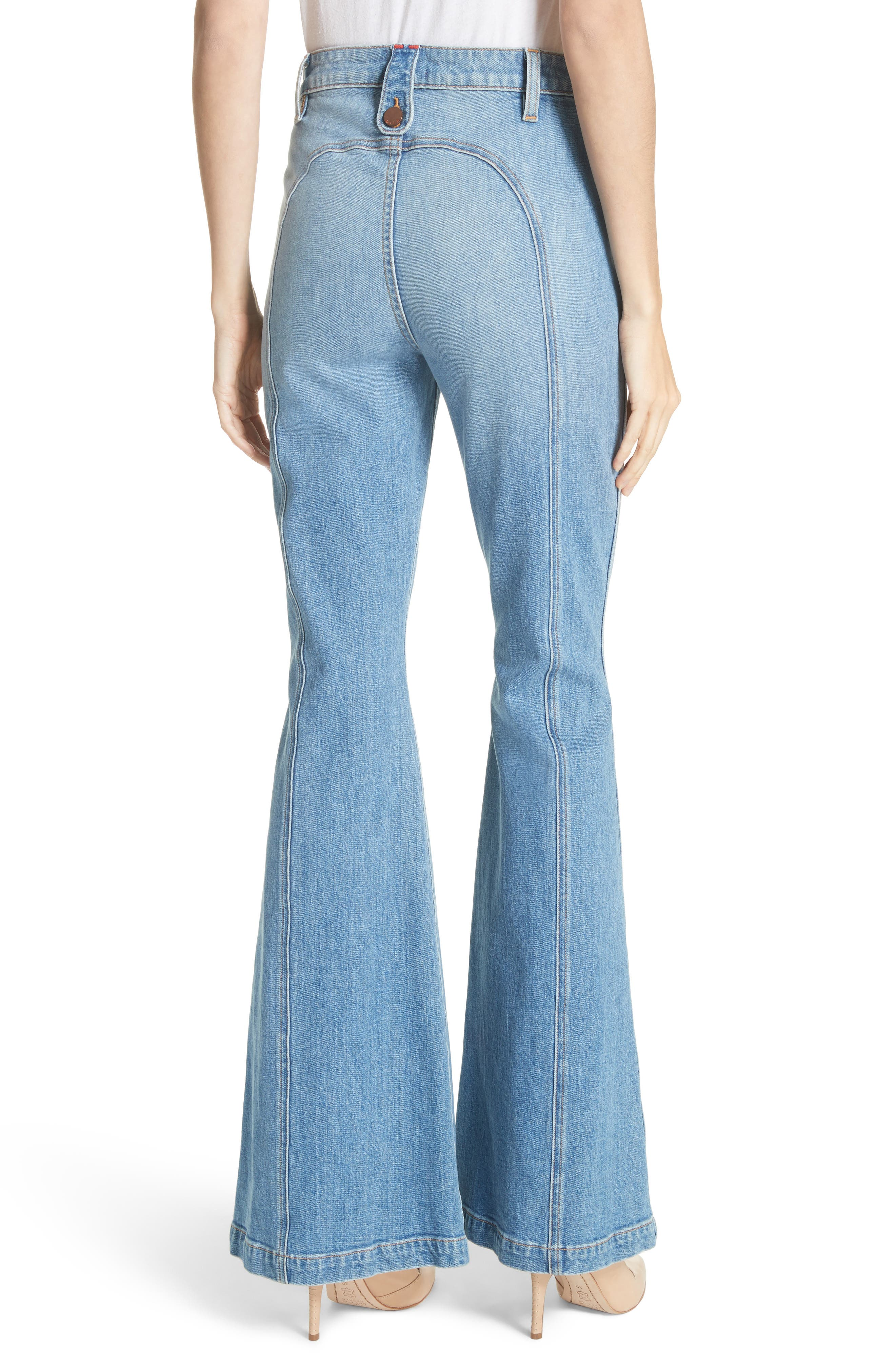 AO.LA Beautiful Exposed Zip Bell Bottom Jeans,                             Alternate thumbnail 2, color,                             Sweet Emotion