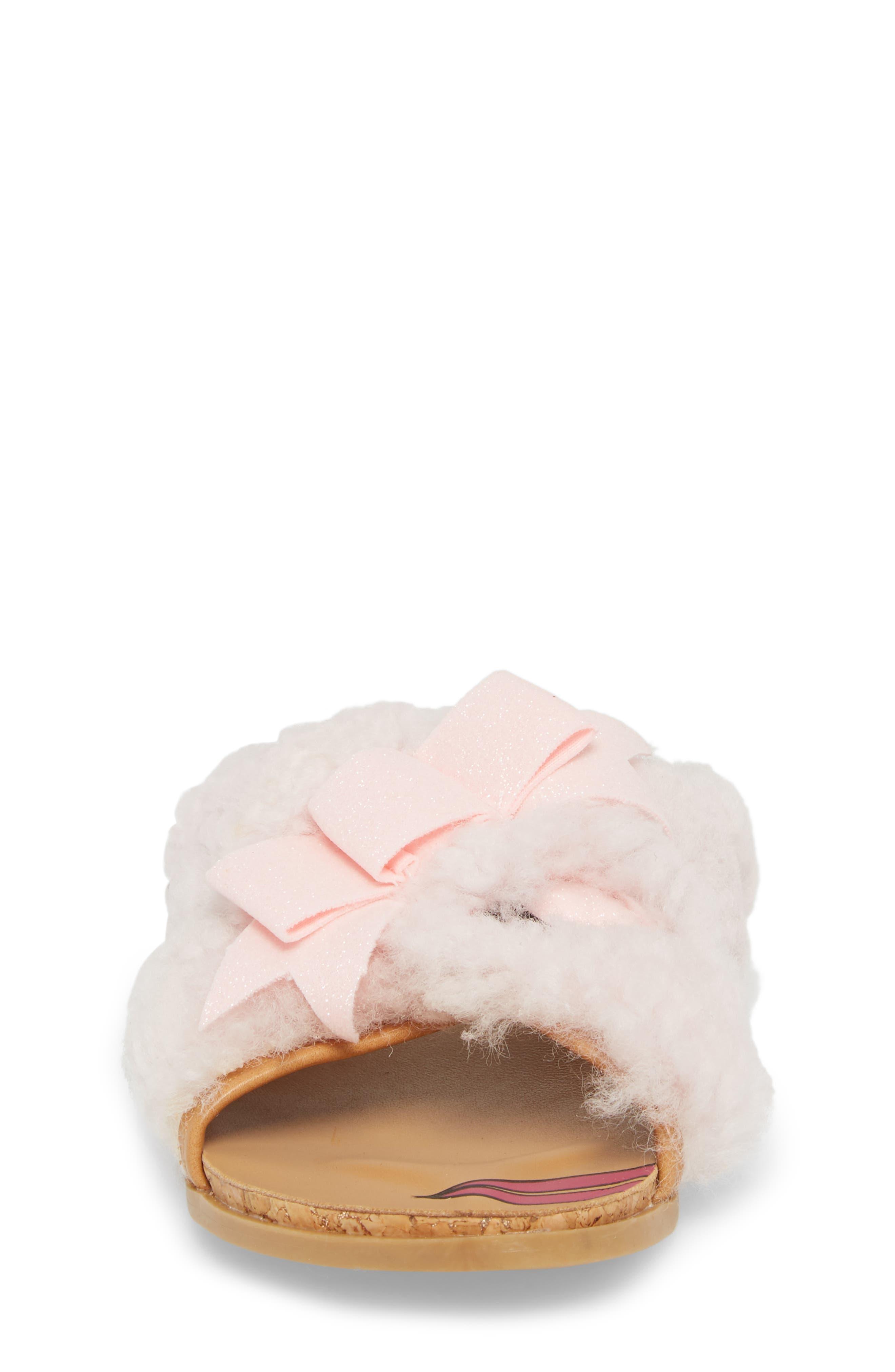 Staceee Genuine Shearling Slide Sandal,                             Alternate thumbnail 4, color,                             Seashell Pink