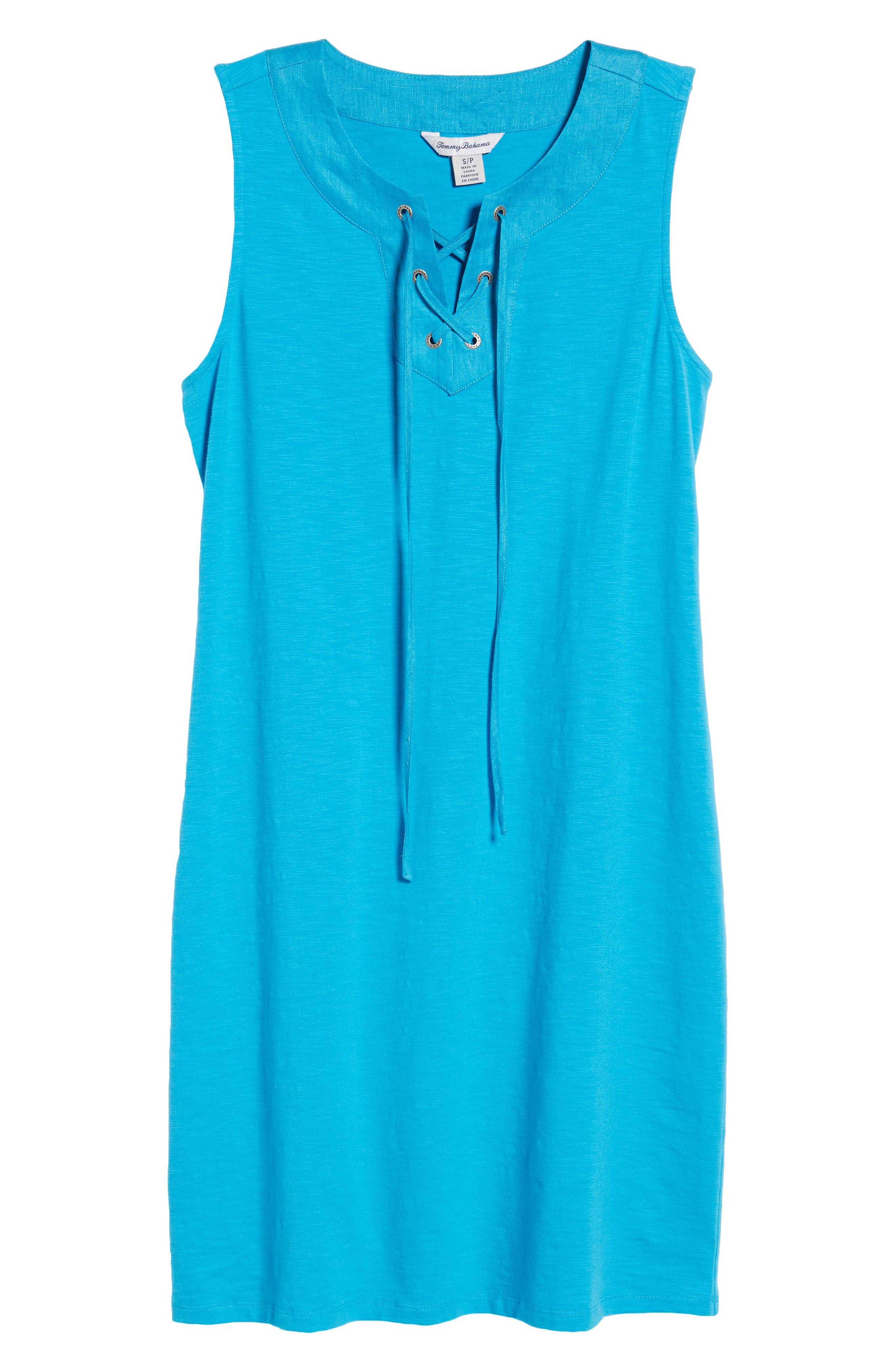 Lace-Up Shift Dress,                             Alternate thumbnail 7, color,                             Pool Party