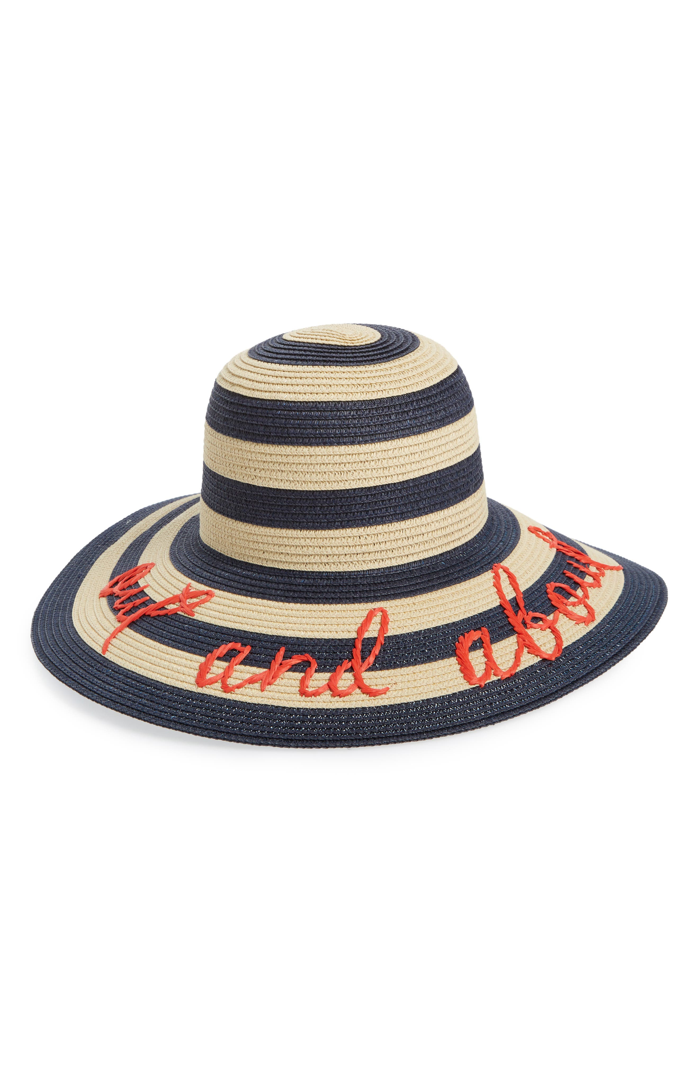 kate spade out and about straw hat,                         Main,                         color, Rich Navy/ Natural/ Black
