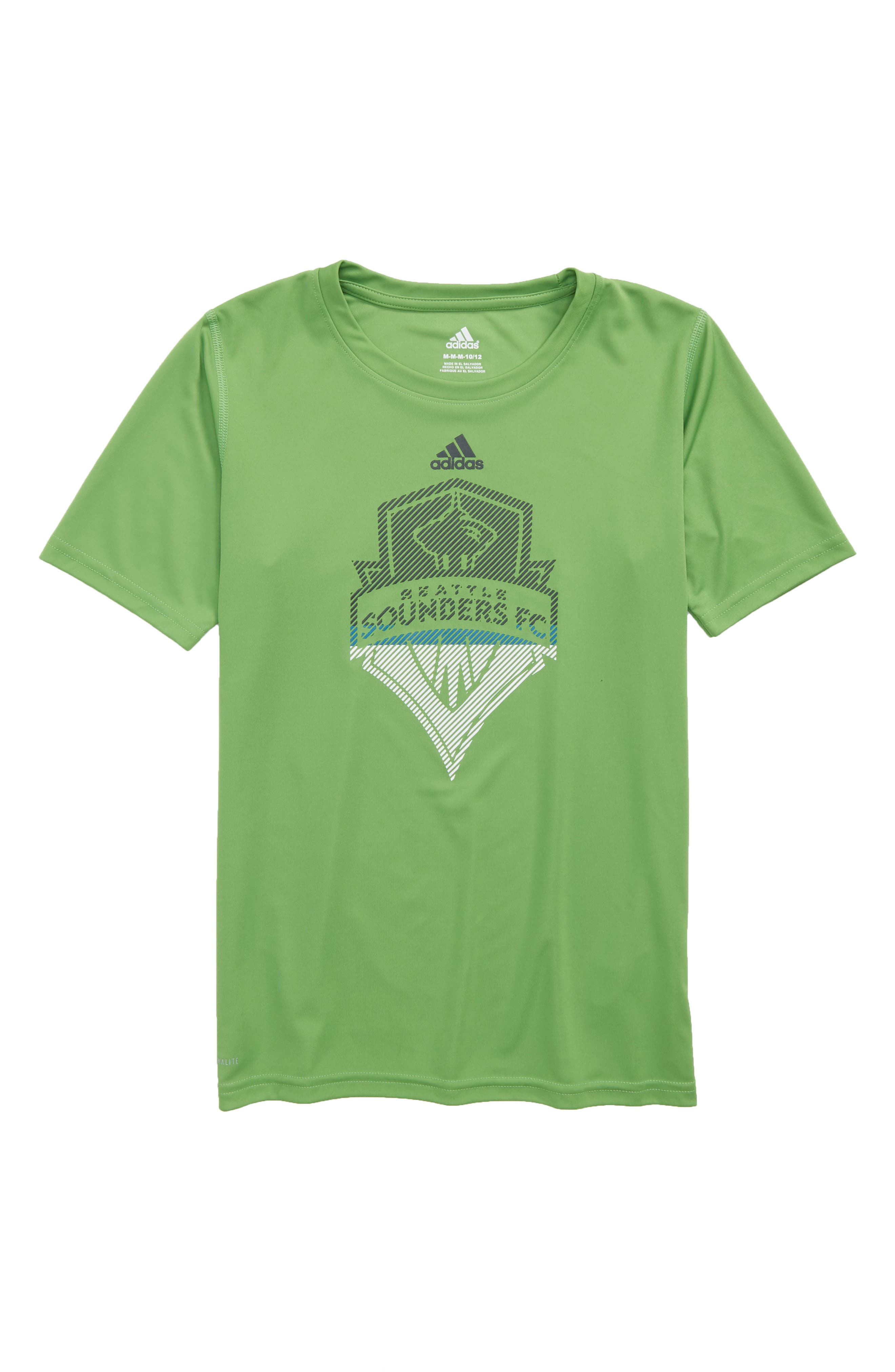MLS Seattle Sounders FC Climalite<sup>®</sup> T-Shirt,                             Main thumbnail 1, color,                             Green