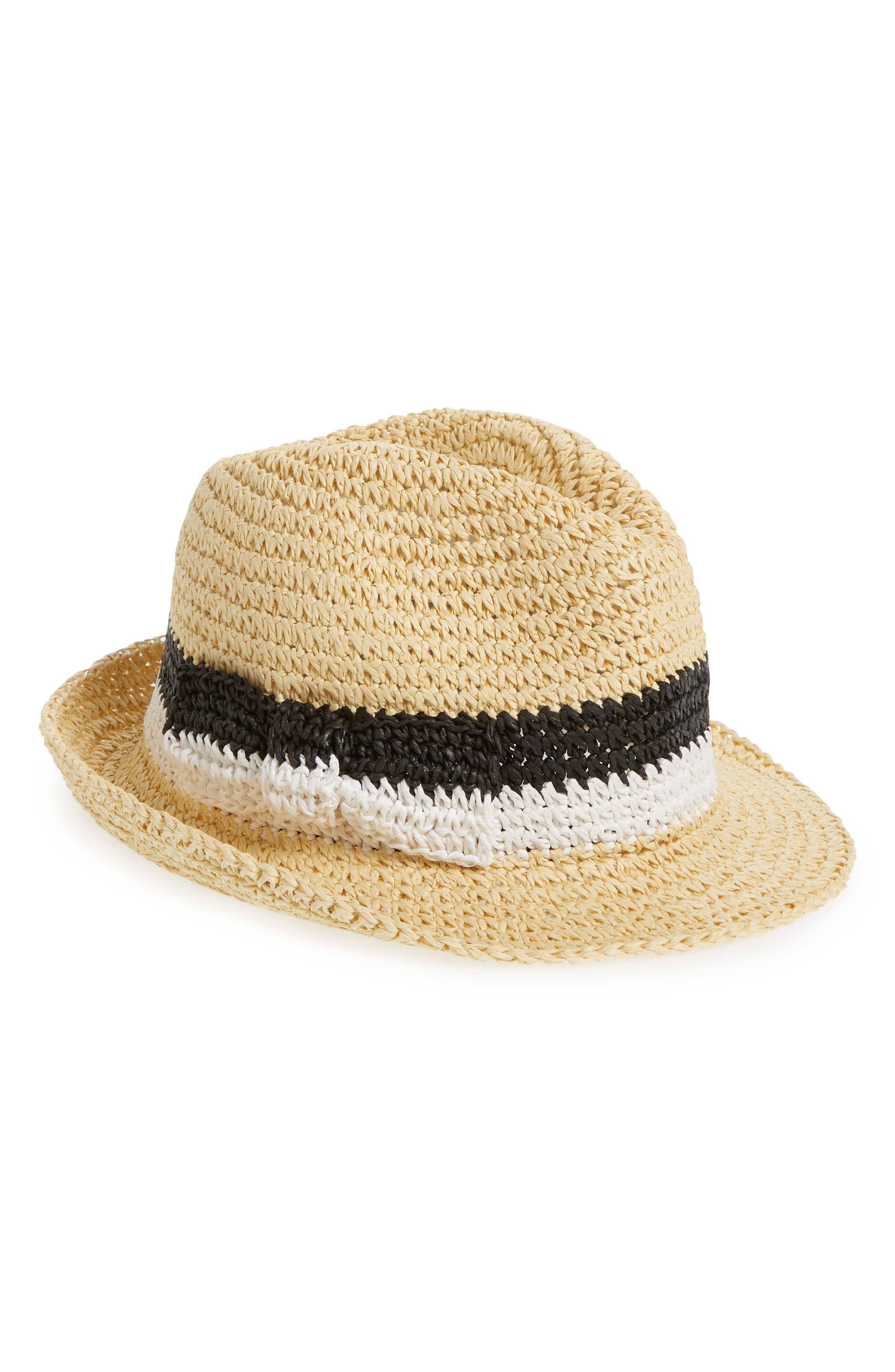 kate spade stripe bow straw trilby,                         Main,                         color, Natural/ Black/ White