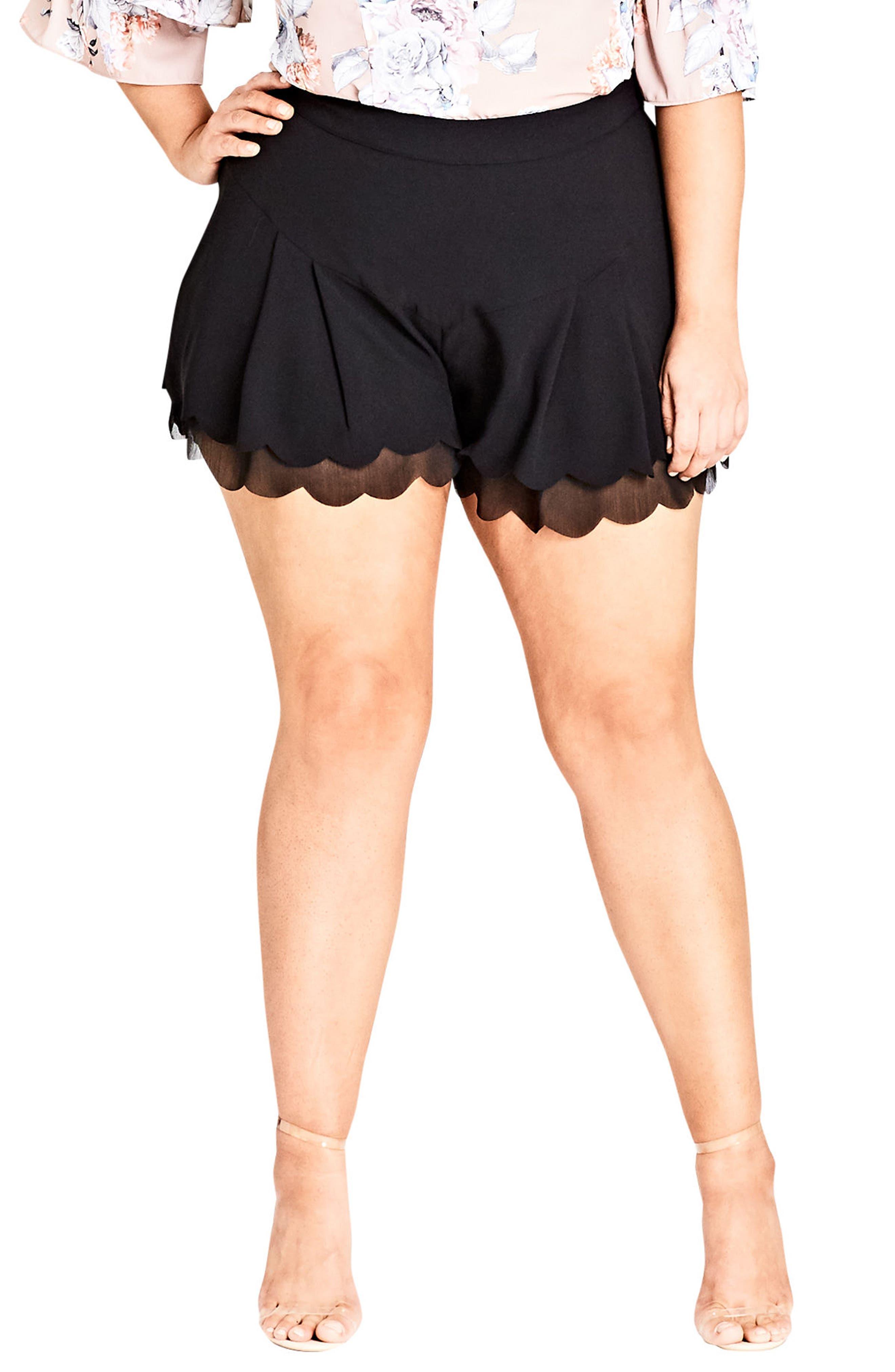 Scallop Hem Shorts,                             Main thumbnail 1, color,                             Black