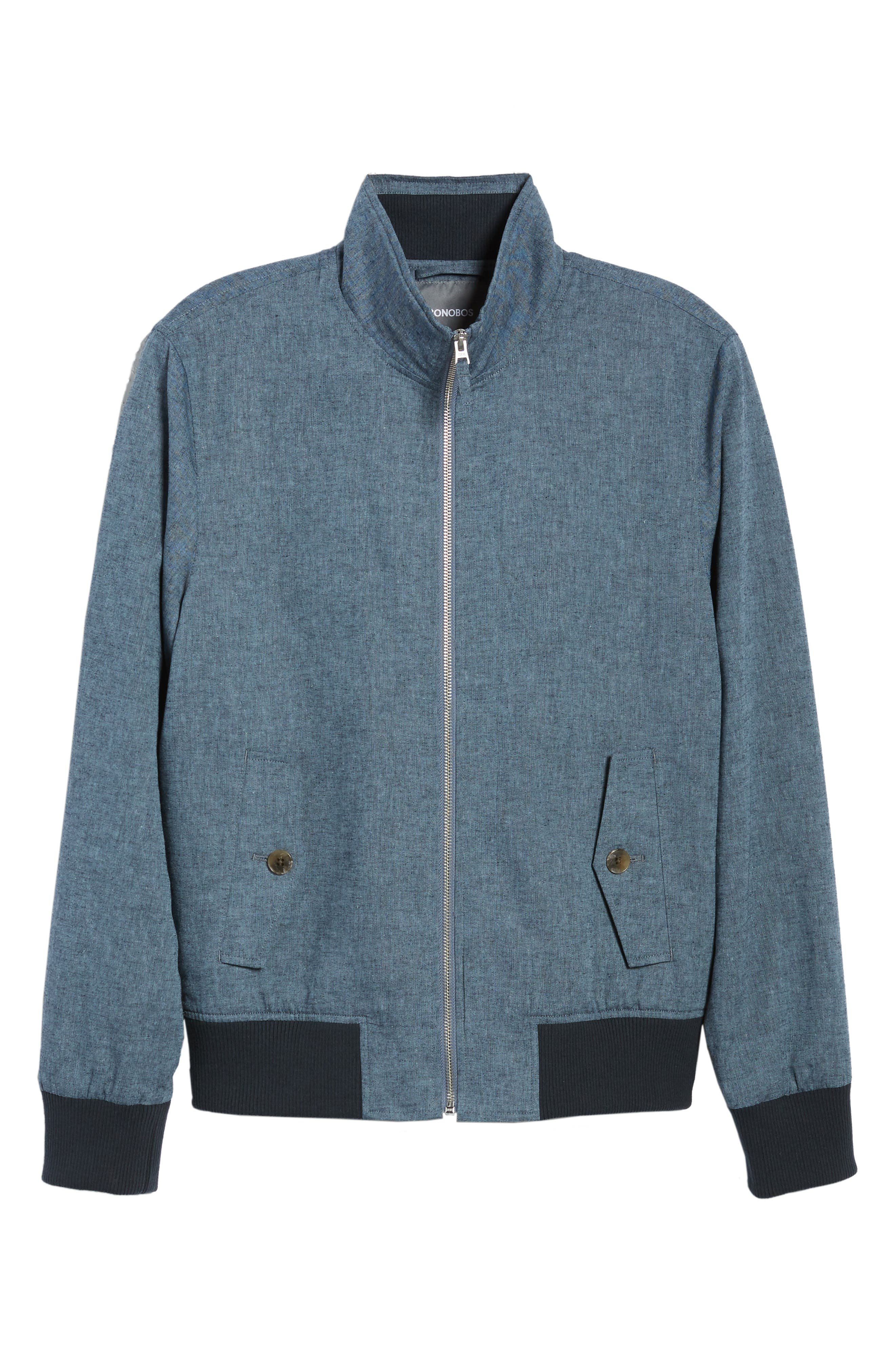 Linen & Cotton Chambray Bomber Jacket,                             Alternate thumbnail 6, color,                             Solid - Chambray