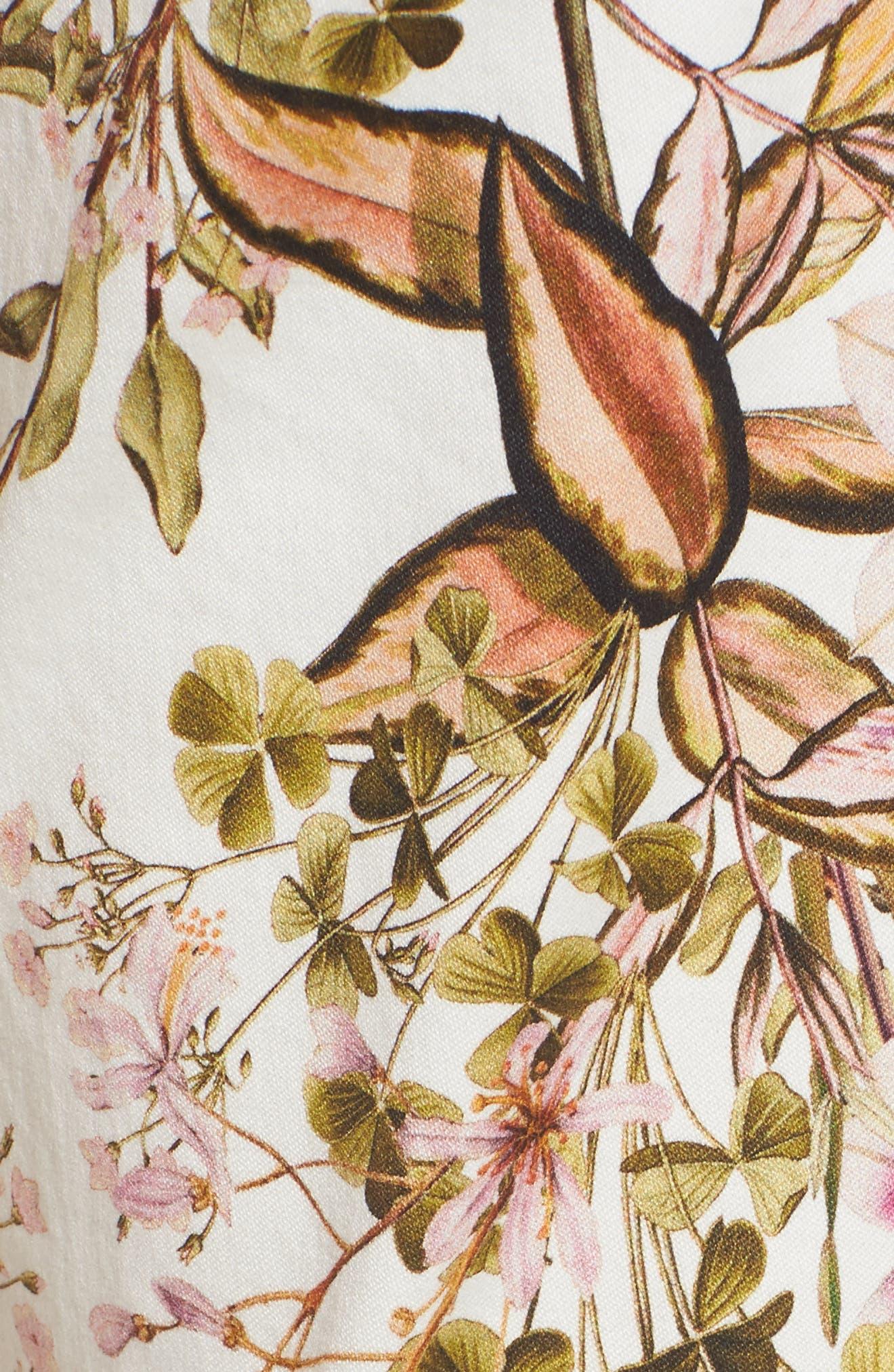 Floral Print Ankle Skinny Jeans,                             Alternate thumbnail 5, color,                             Havana Tropics