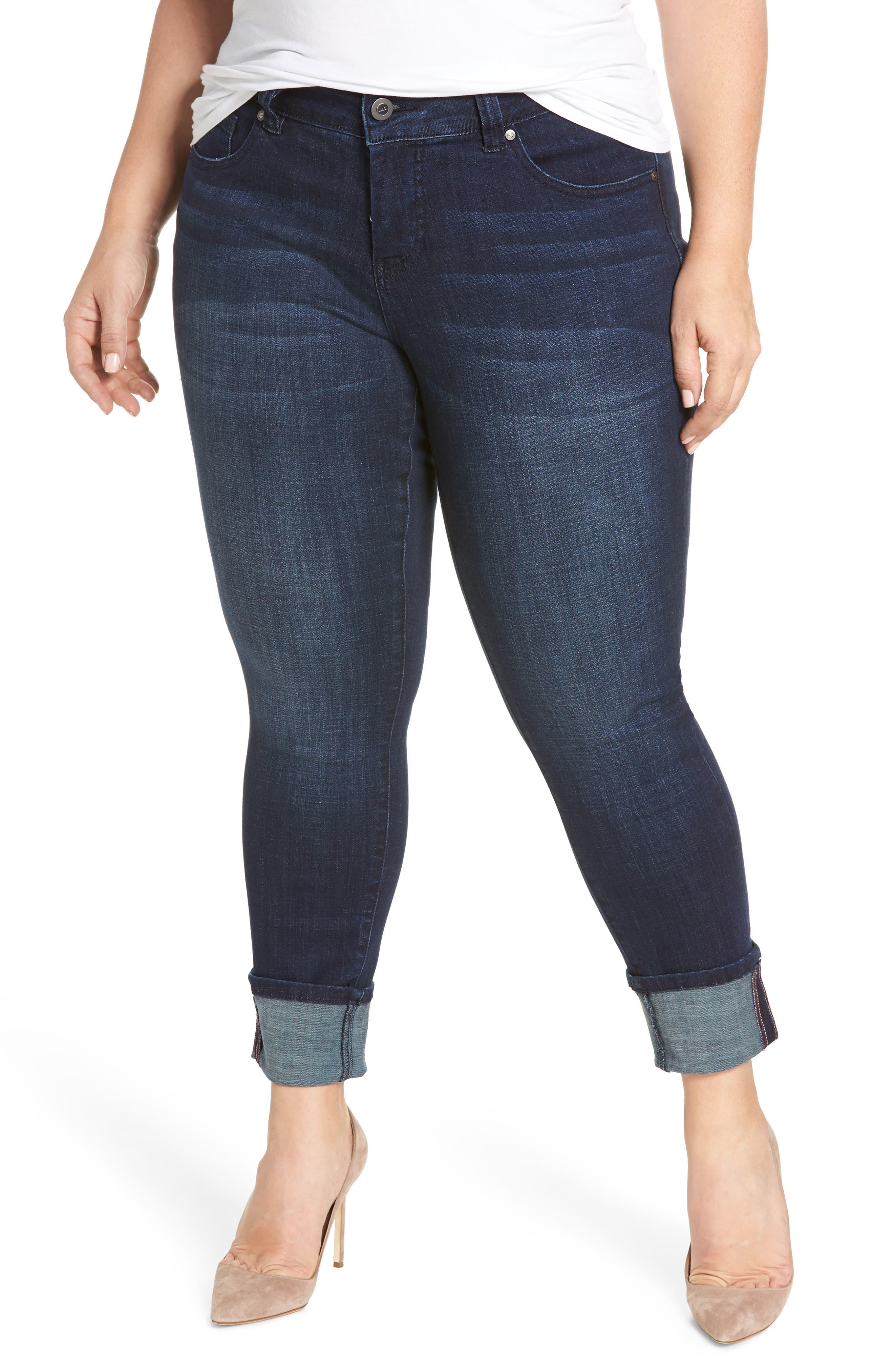 Maddie Cuff Skinny Jeans,                             Main thumbnail 1, color,                             Dark Indigo