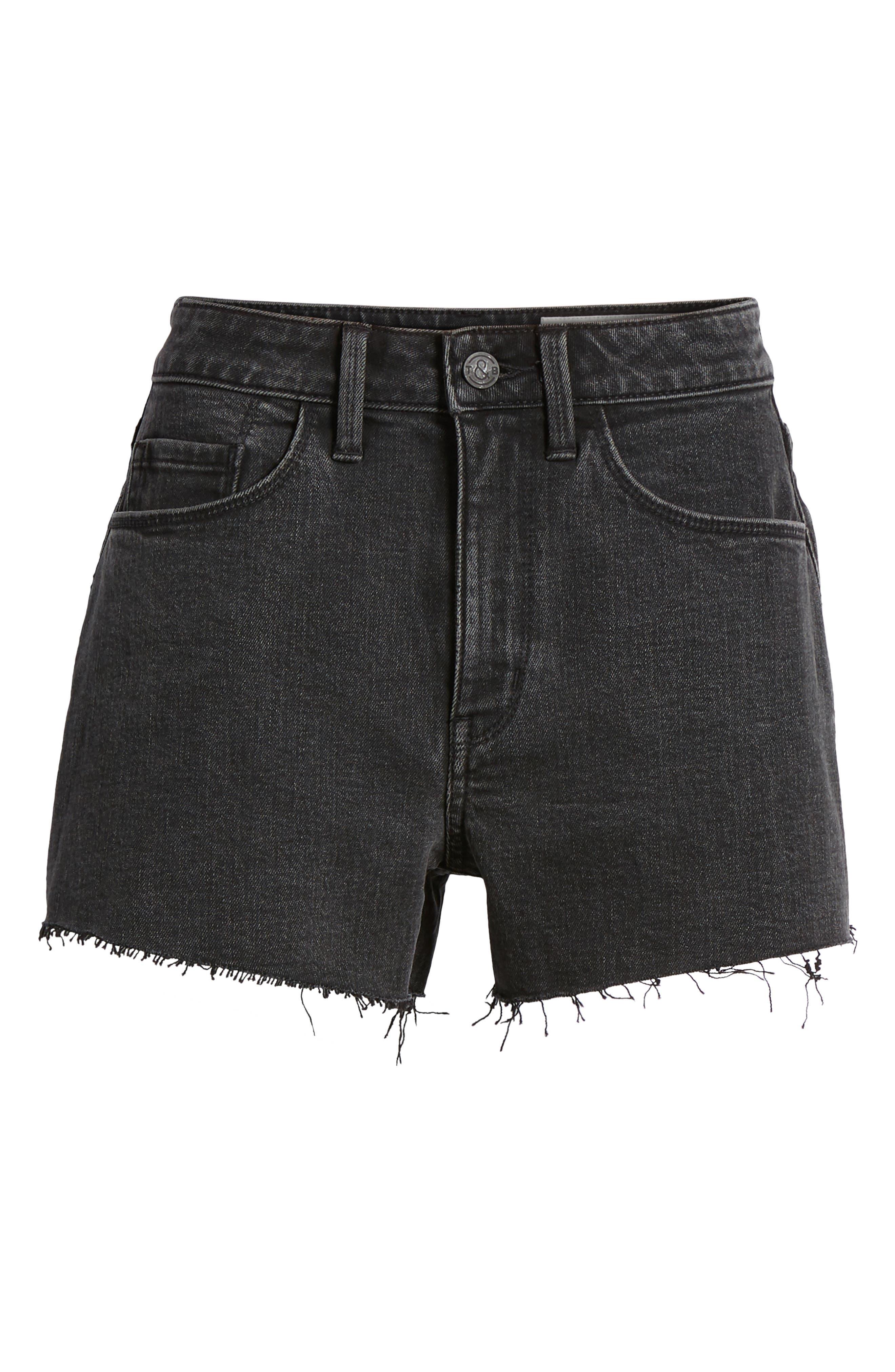 Foster High Waist Cutoff Boyfriend Denim Shorts,                             Alternate thumbnail 6, color,                             Blacktop Dark