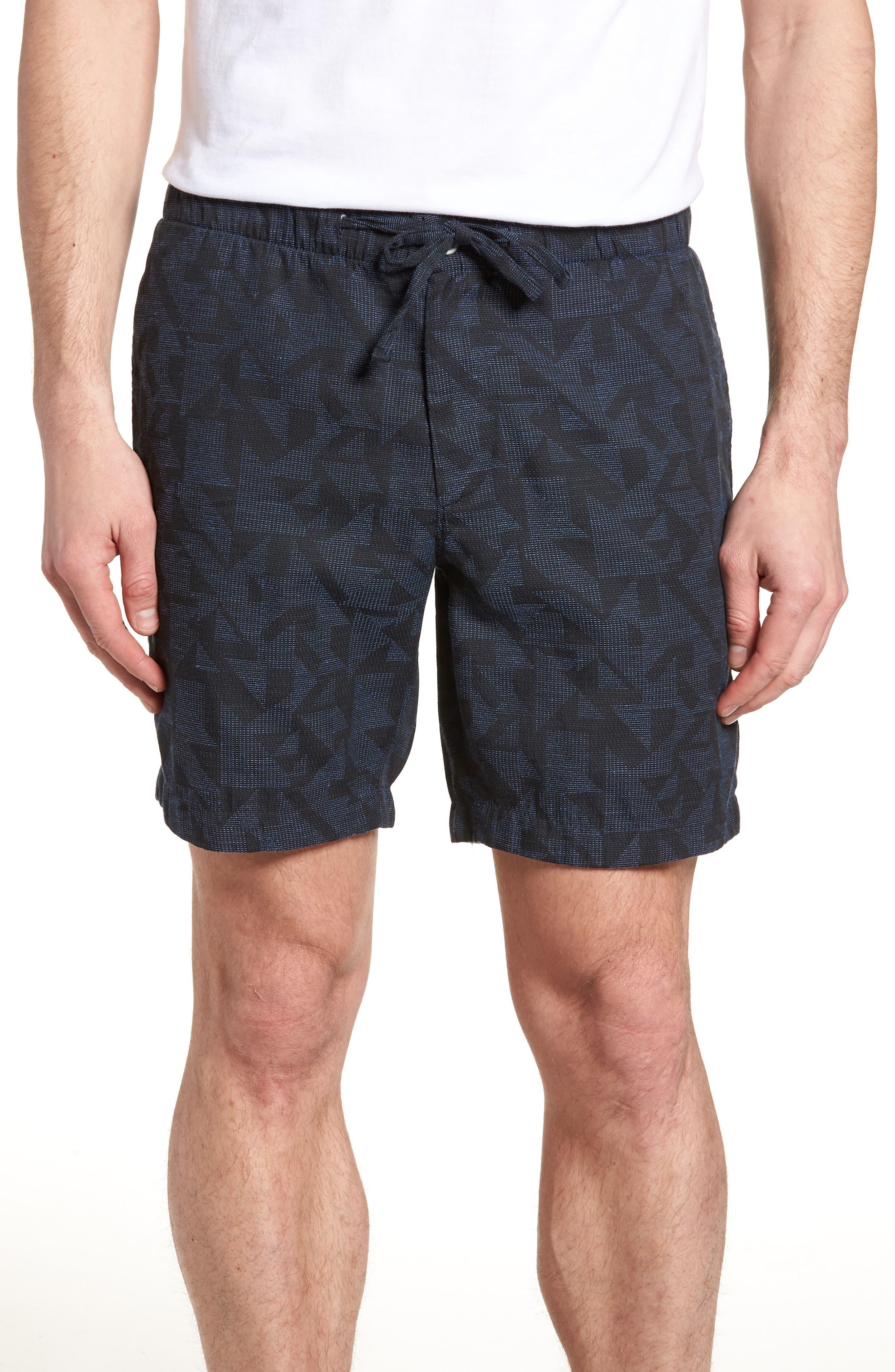 Print Beach Shorts,                             Main thumbnail 1, color,                             Navy Triangle Jacquard