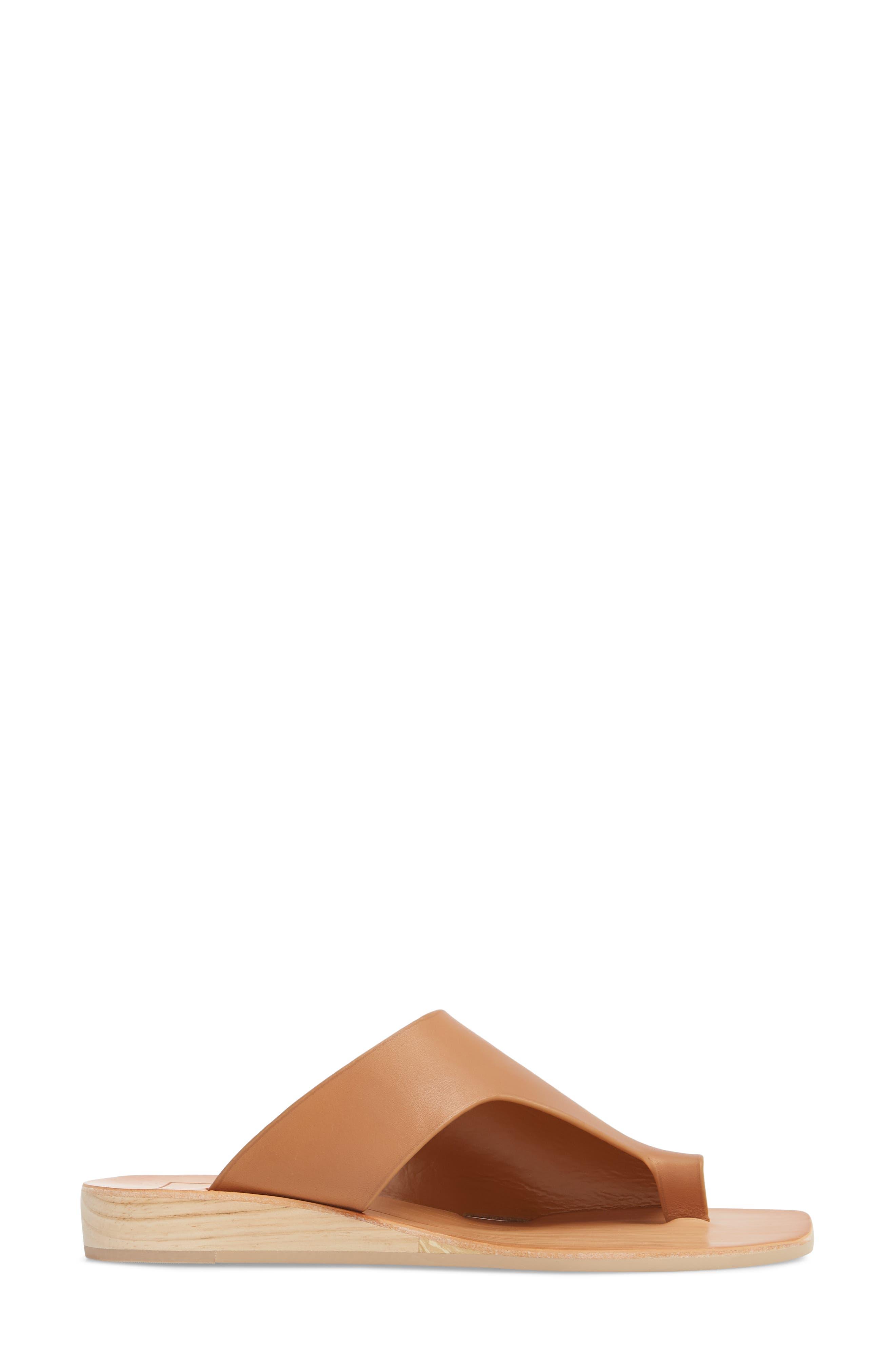 Hazle Asymmetrical Toe Loop Sandal,                             Alternate thumbnail 3, color,                             Caramel