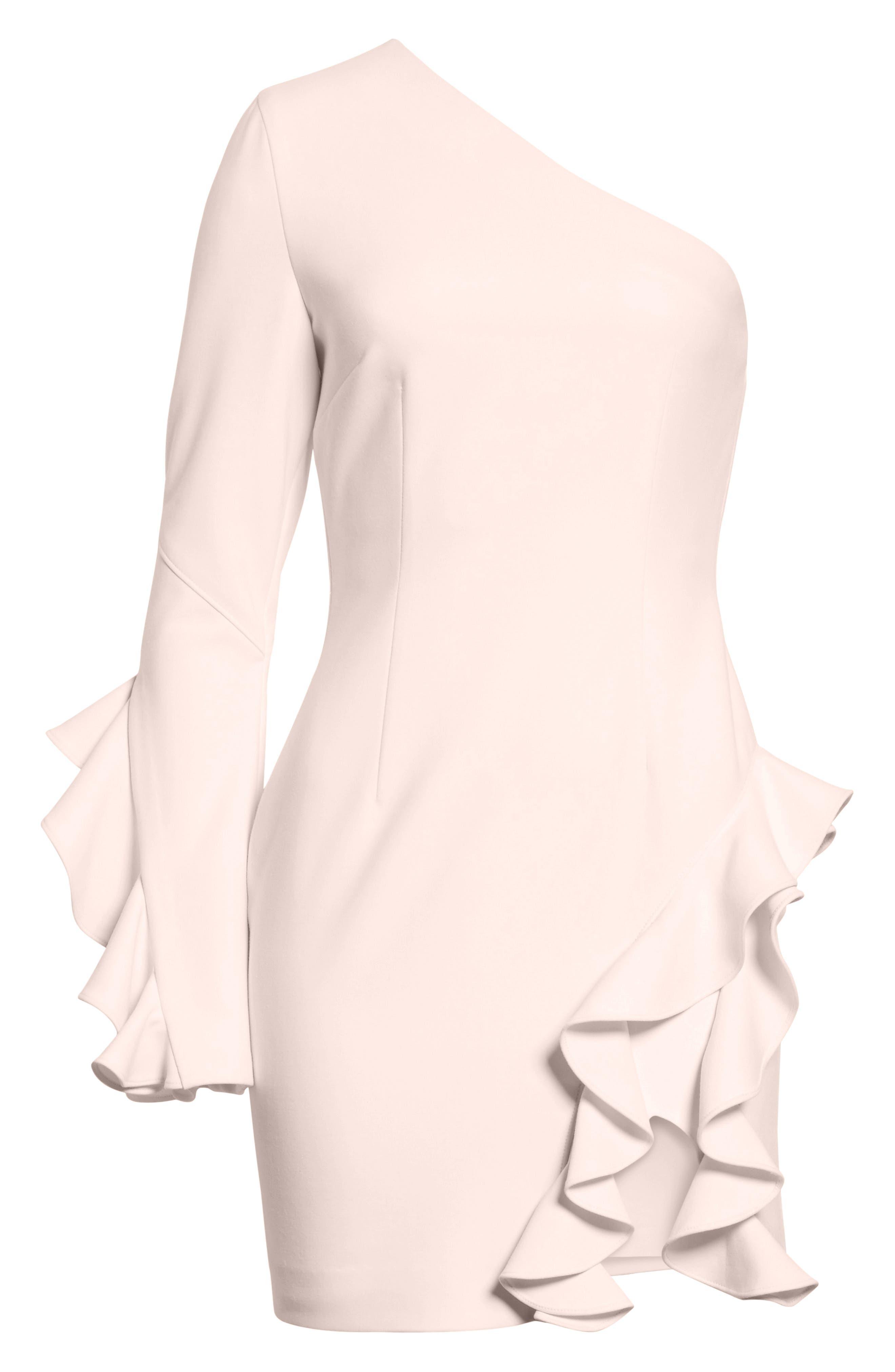 Pia Ruffle Trim One-Shoulder Dress,                         Main,                         color, Pearl Blush