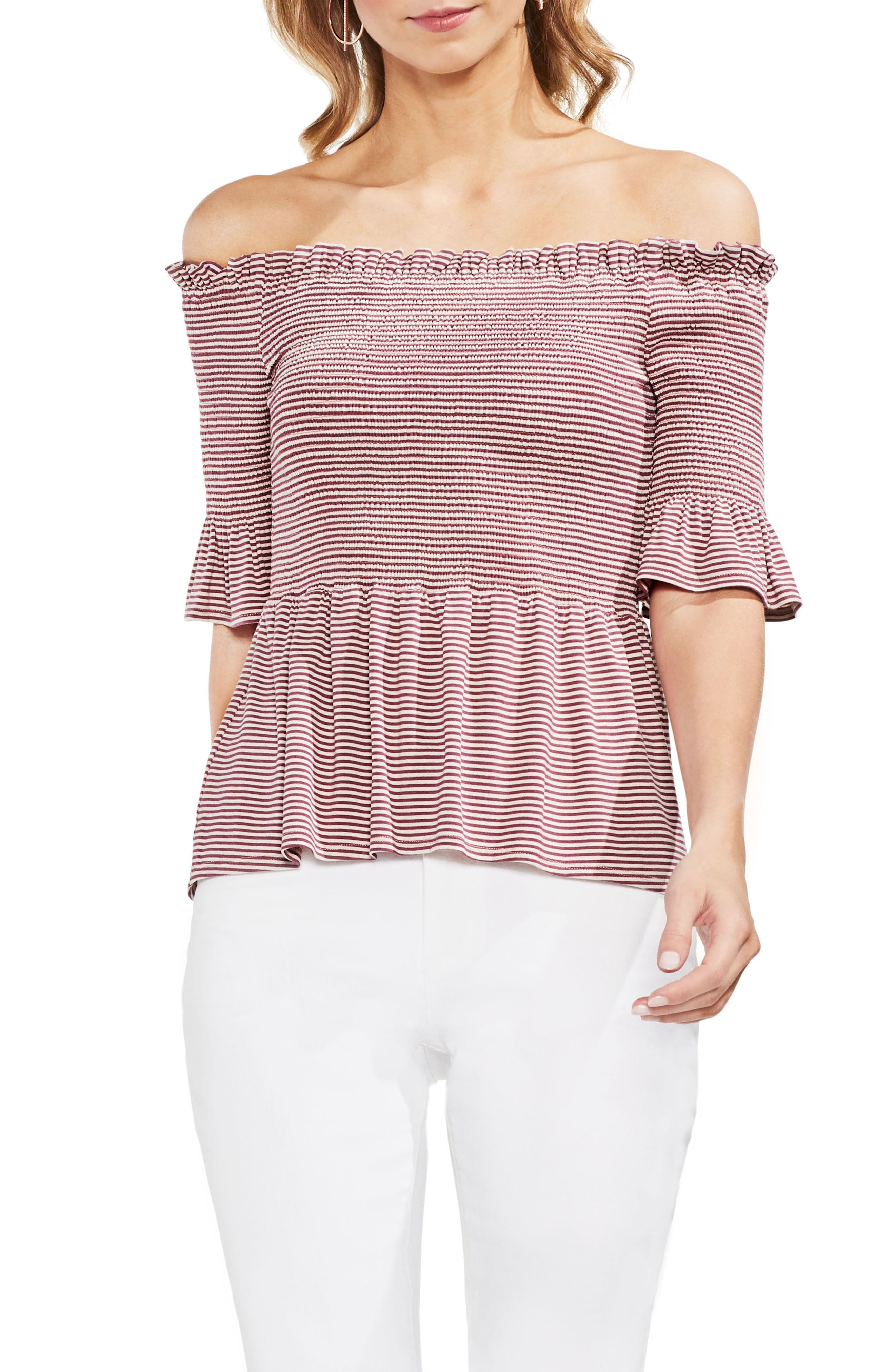 Off The Shoulder Striped Top,                             Main thumbnail 1, color,                             Summer Rose