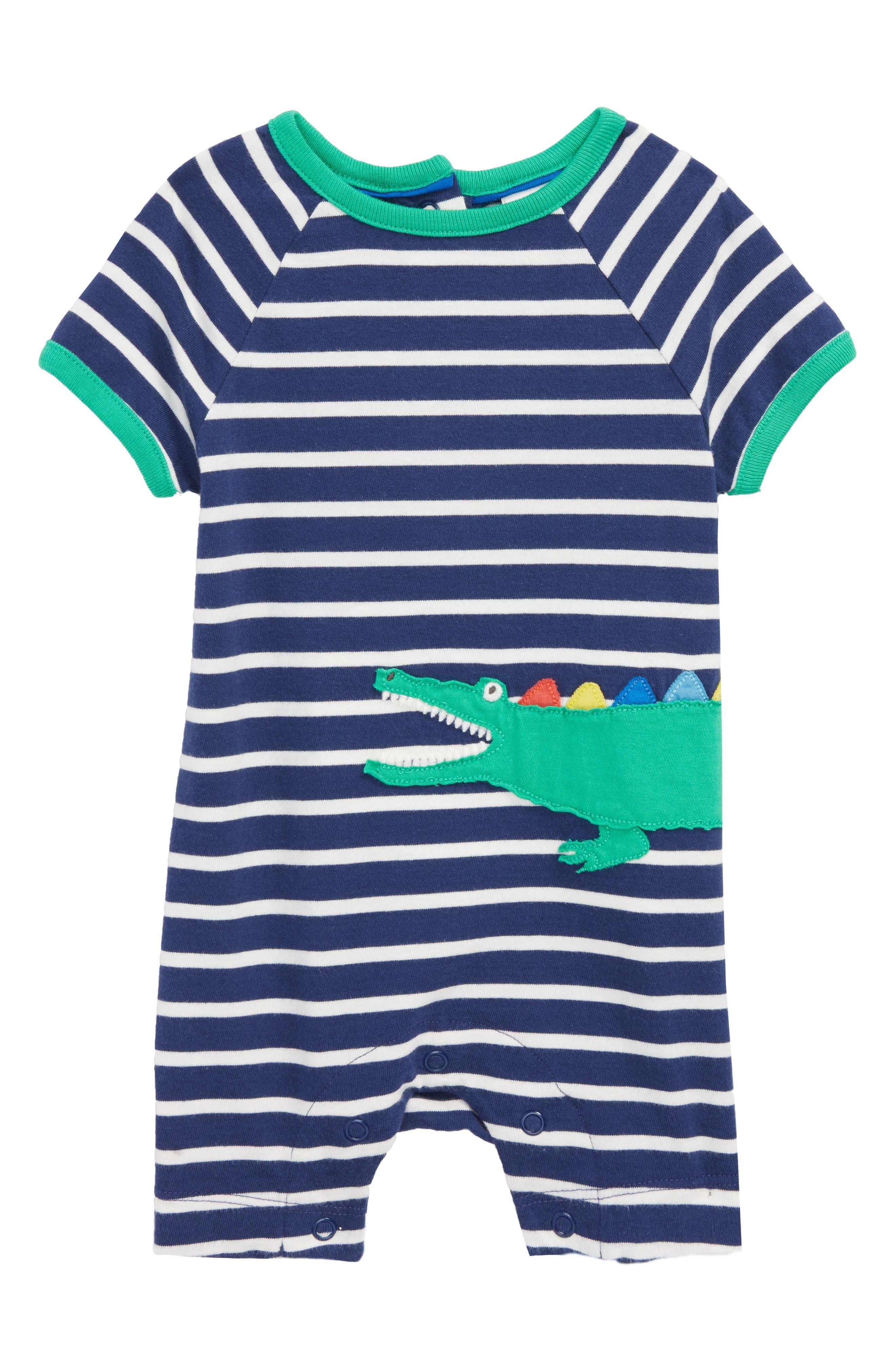 Mini Boden Stripe Romper (Baby Boys)