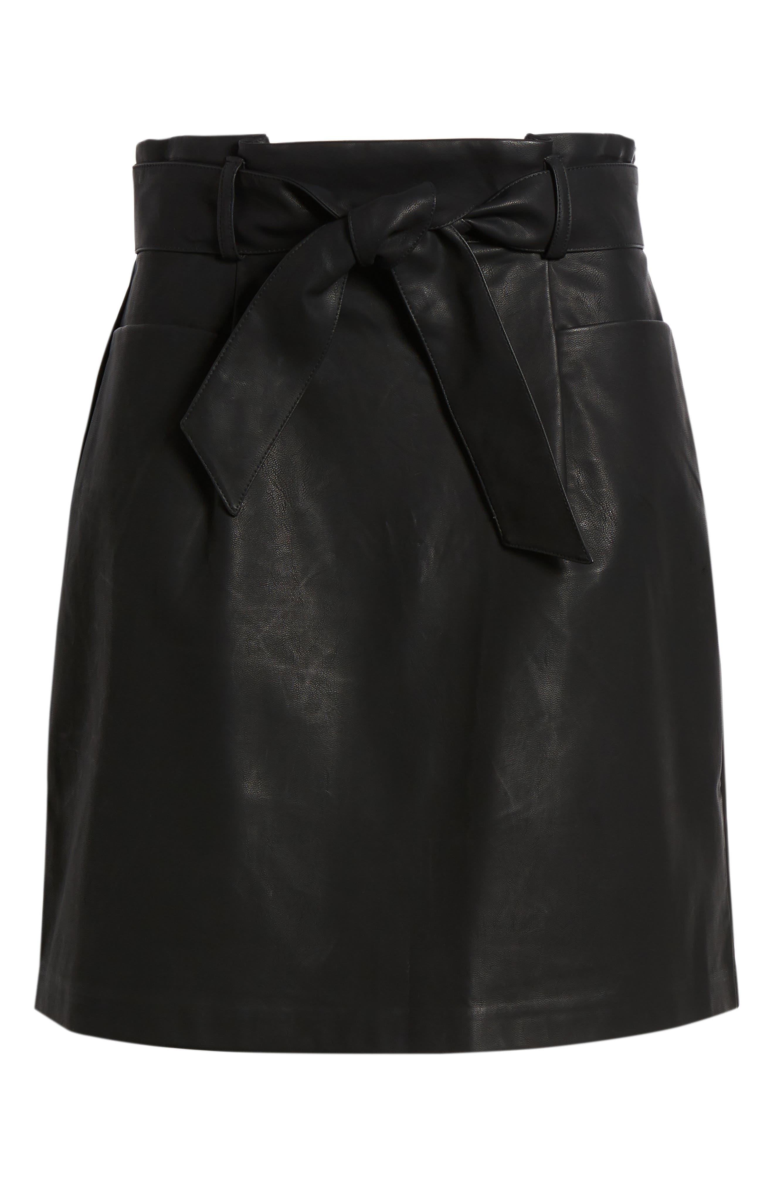 Paperbag Faux Leather Miniskirt,                             Alternate thumbnail 6, color,                             Black