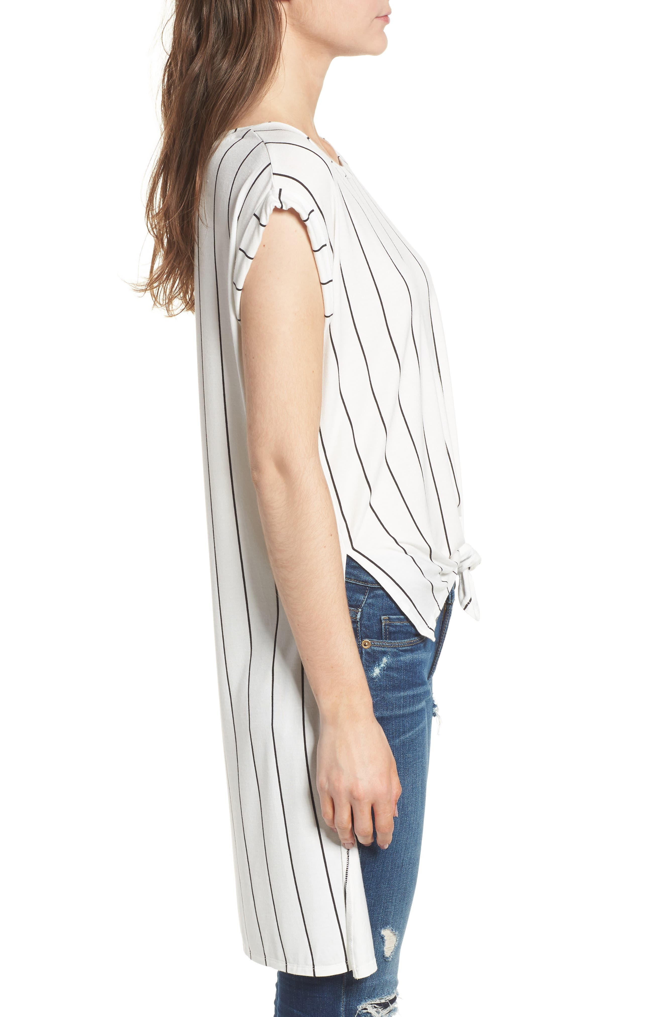 High/Low Knot Front Top,                             Alternate thumbnail 3, color,                             White/ Black Stripe