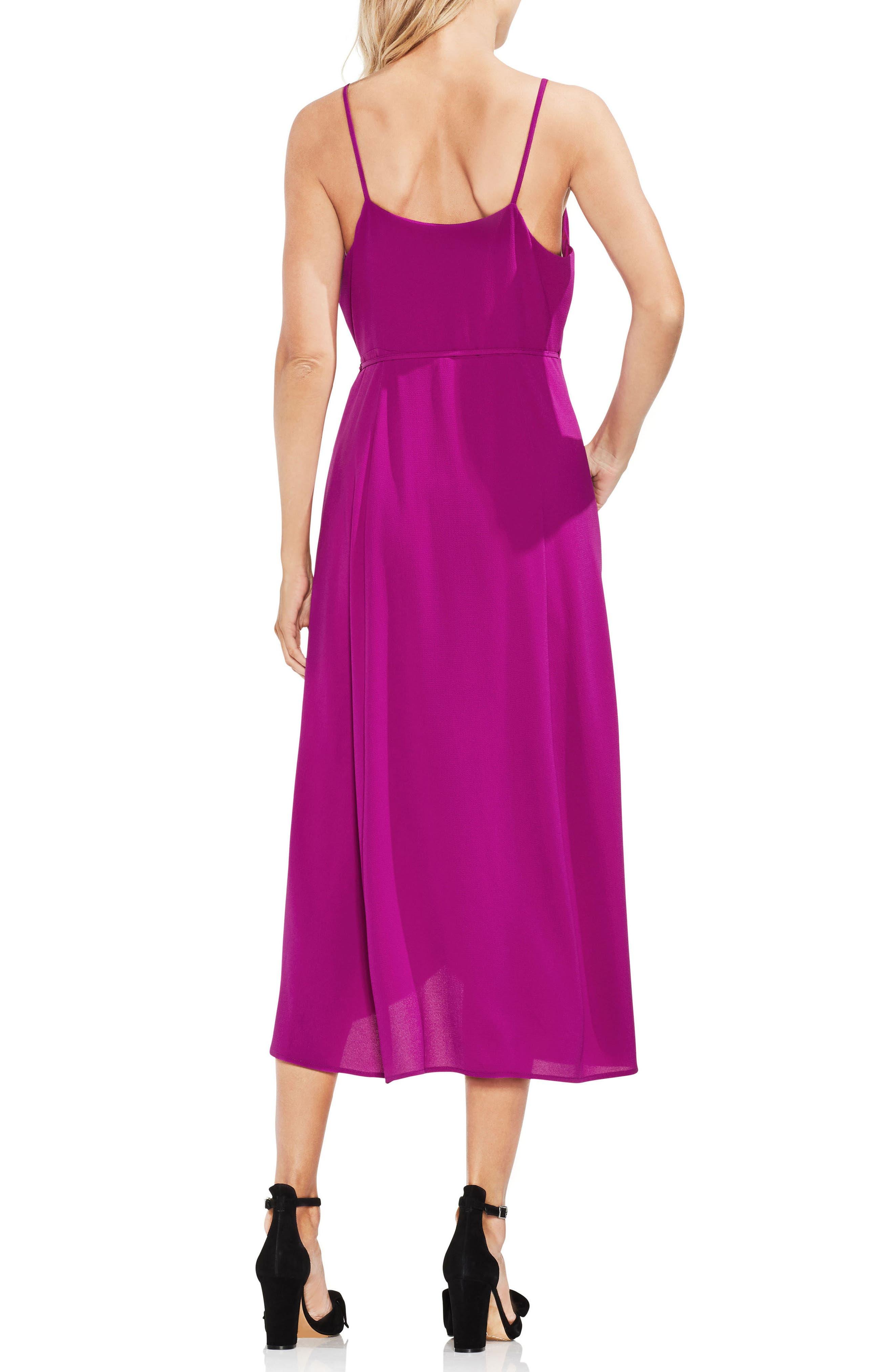 Soft Texture Faux Wrap Midi Dress,                             Alternate thumbnail 2, color,                             Fuchsia Fury