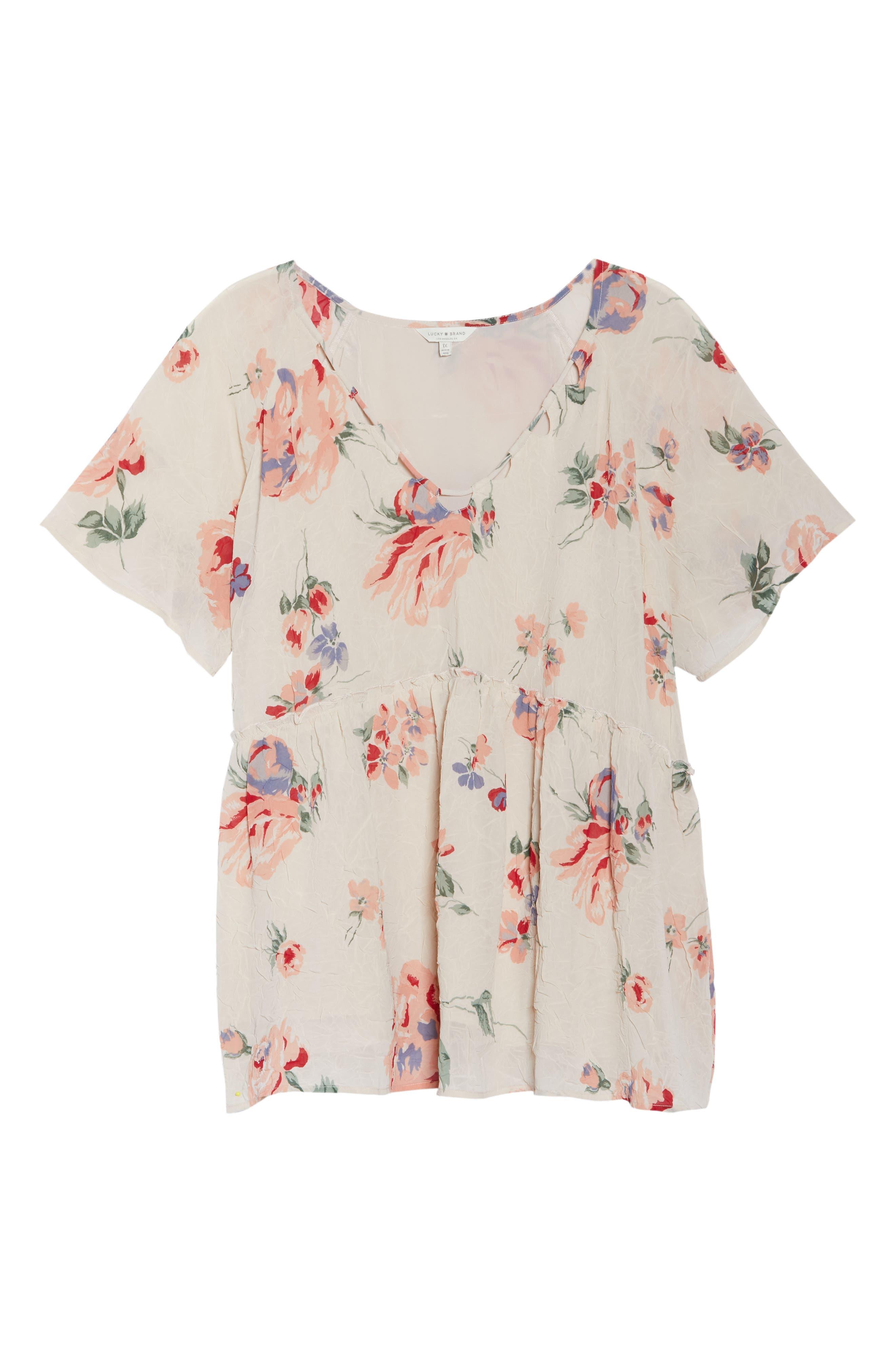 Floral Flutter Top,                             Alternate thumbnail 7, color,                             Pink Multi