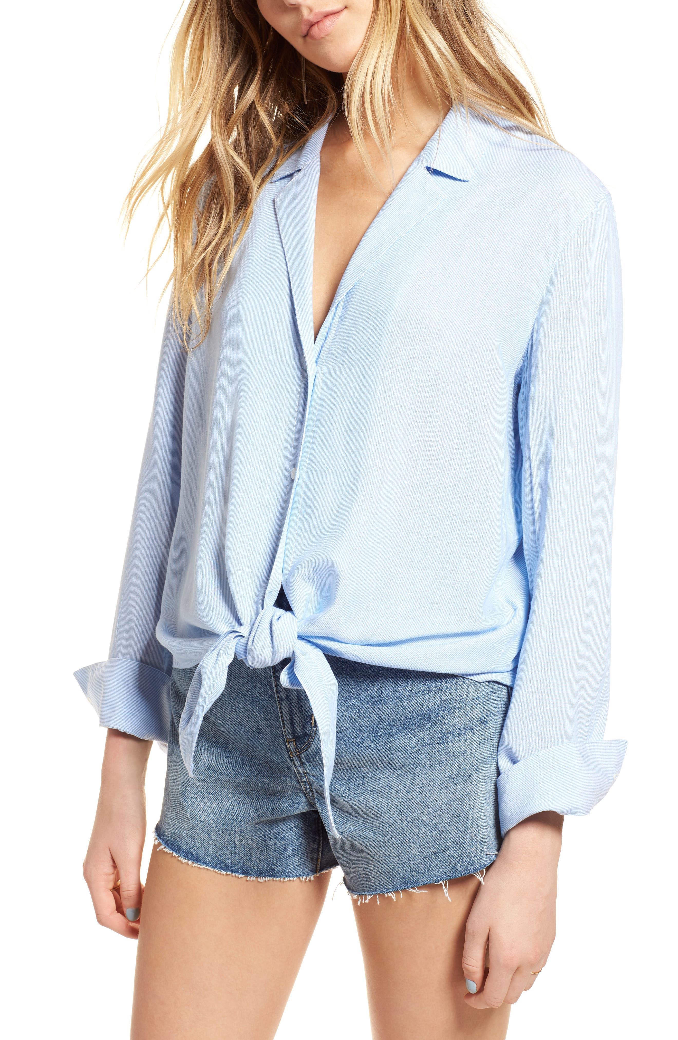 Tie Front Shirt,                         Main,                         color, Blue Lake Micro Stripe