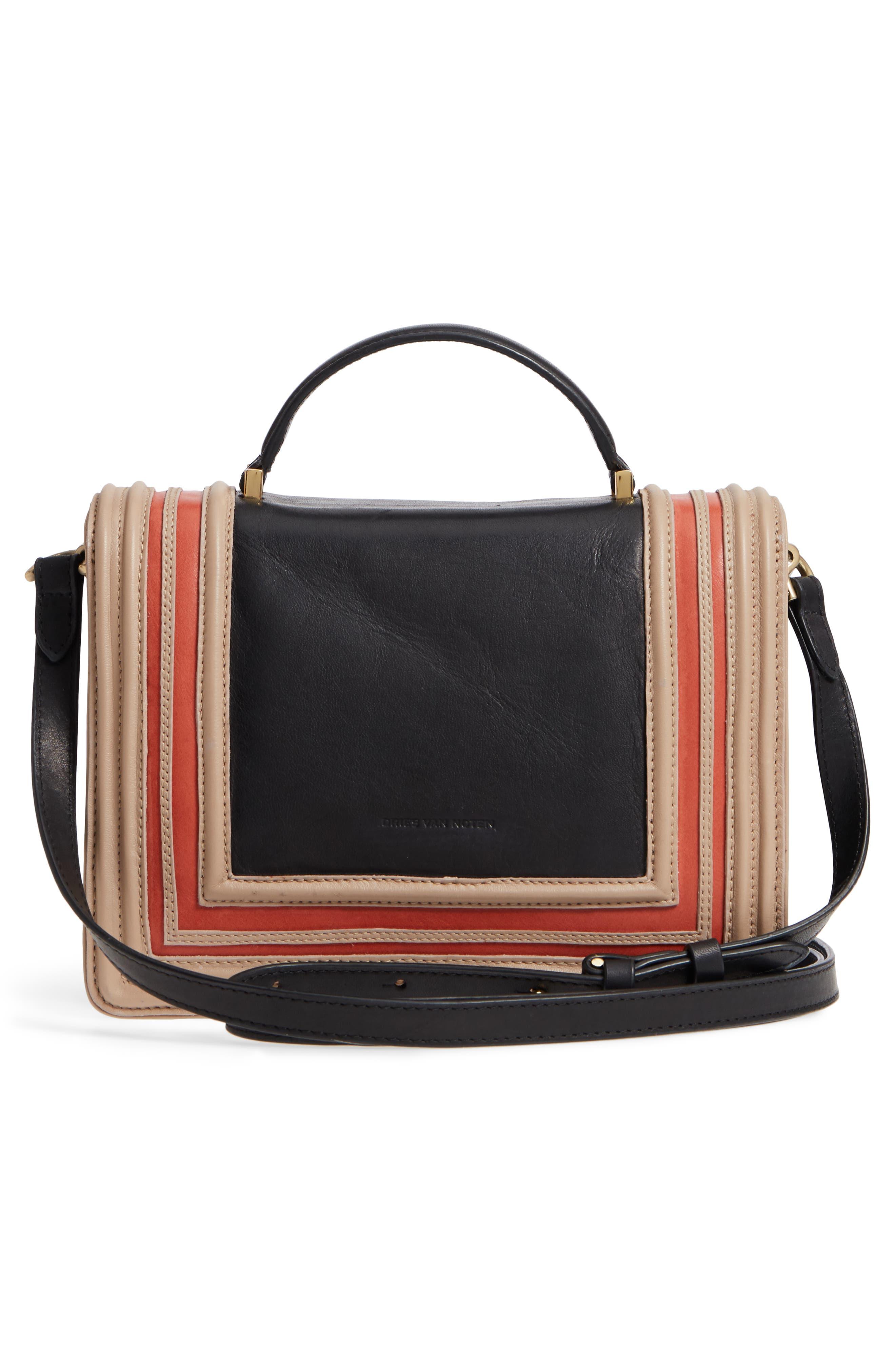 Small Square Top Handle Handbag,                             Alternate thumbnail 3, color,                             Black