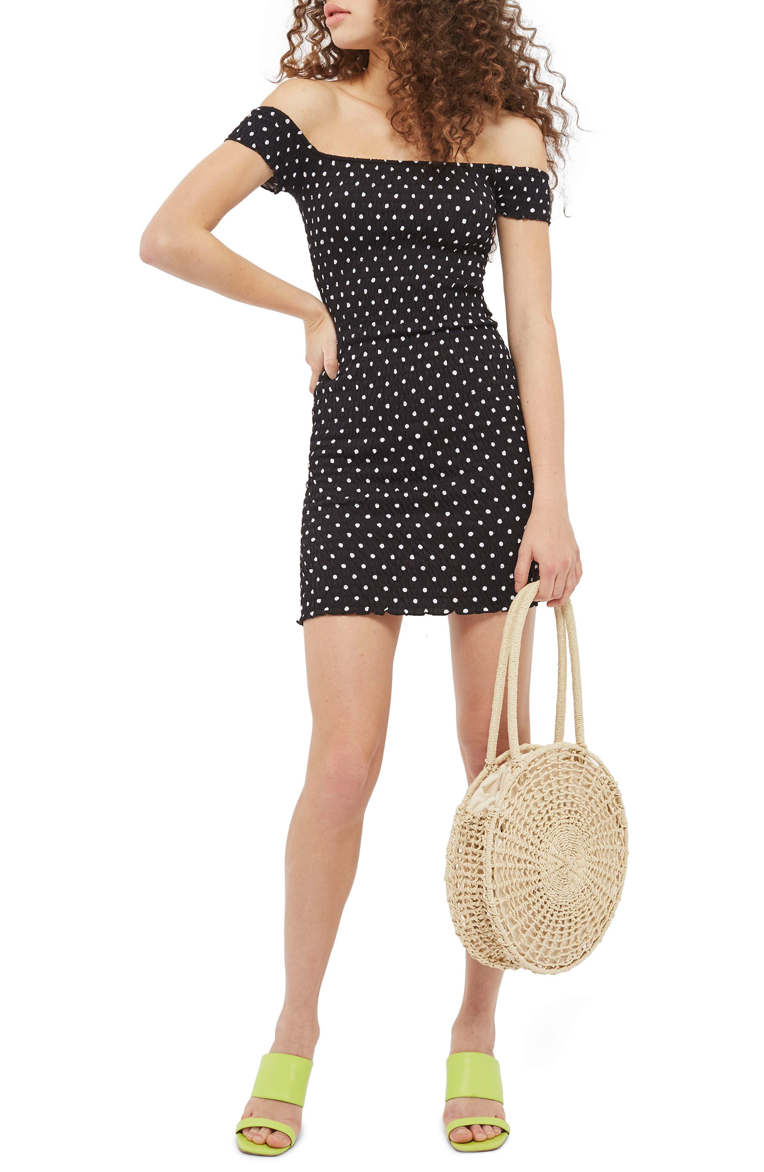 Spot Shirred Body-Con Dress,                             Main thumbnail 1, color,                             Black Multi