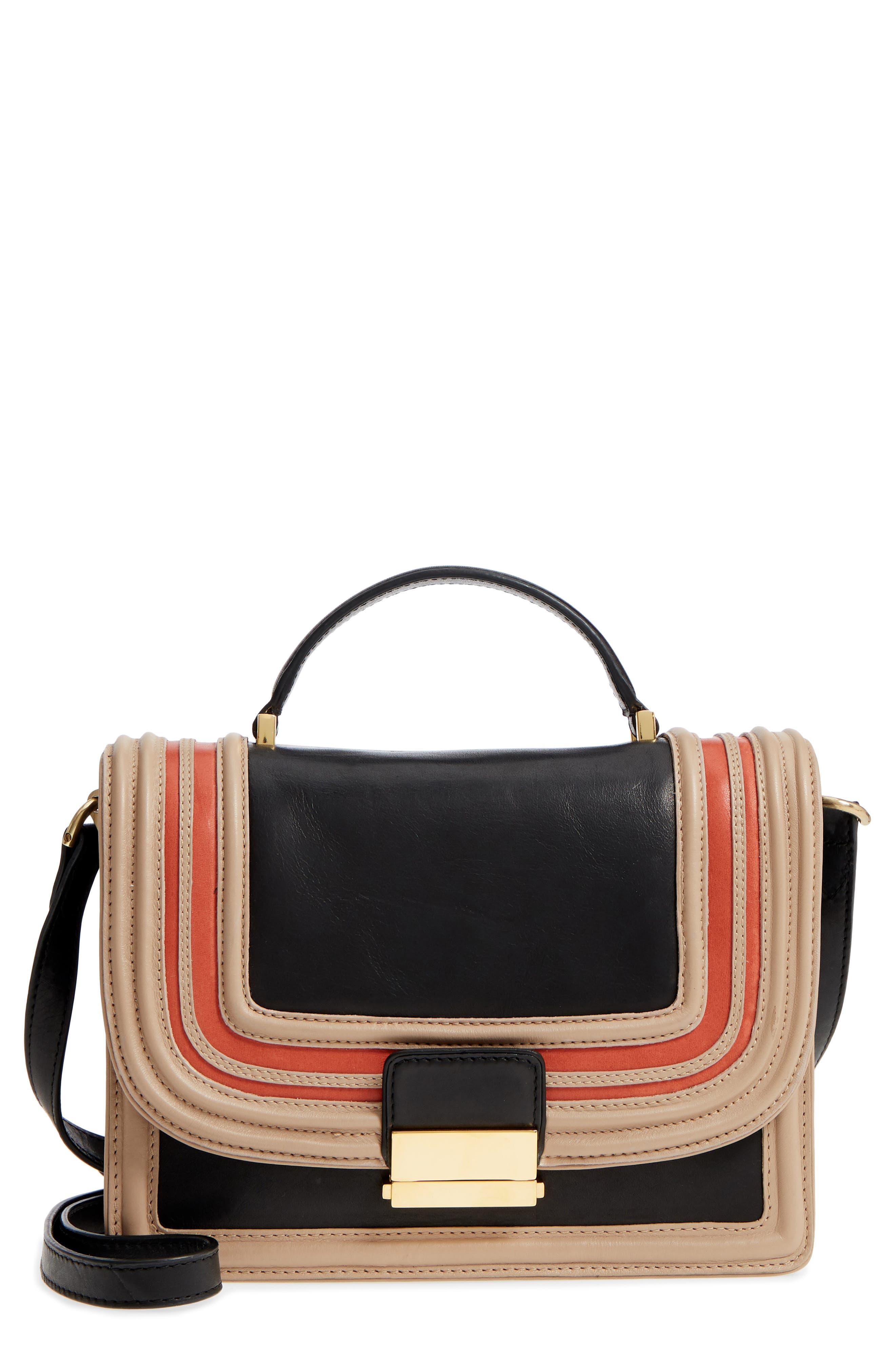 Small Square Top Handle Handbag,                             Main thumbnail 1, color,                             Black