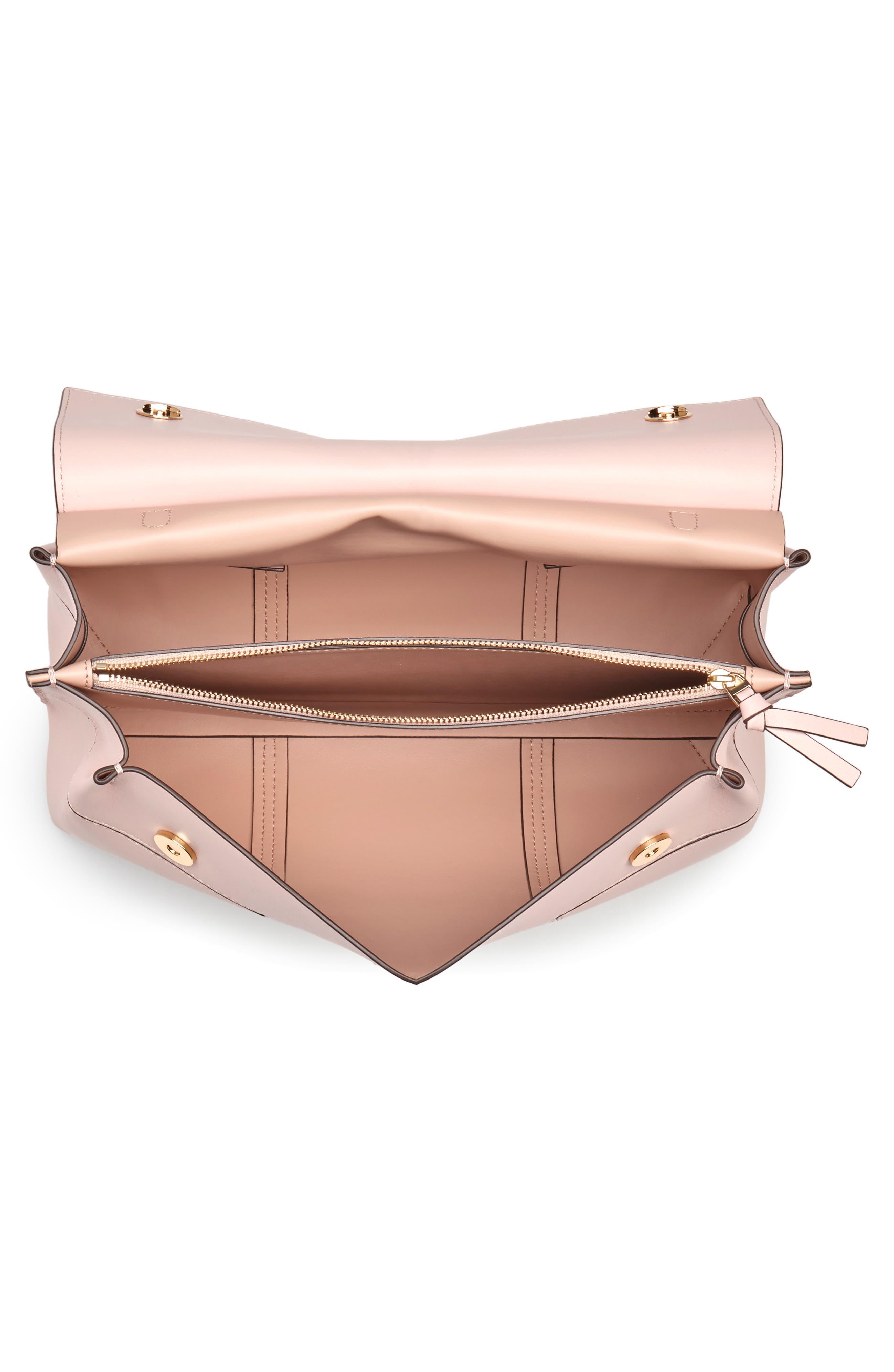 Block T Leather Top Handle Satchel,                             Alternate thumbnail 4, color,                             Shell Pink/ Goan Sand