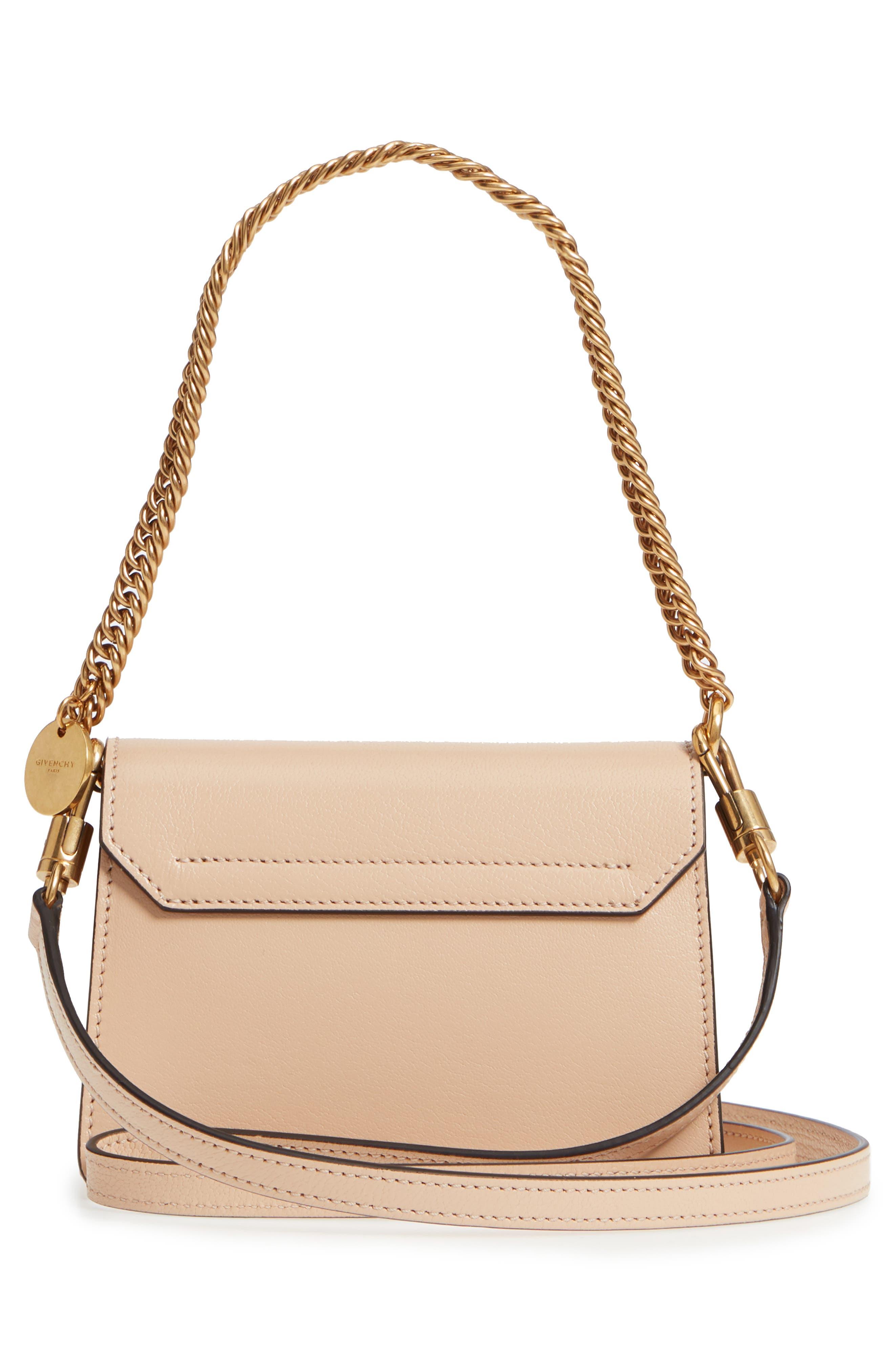 Mini GV3 Leather & Suede Crossbody Bag,                             Alternate thumbnail 3, color,                             Nude/ Light Beige