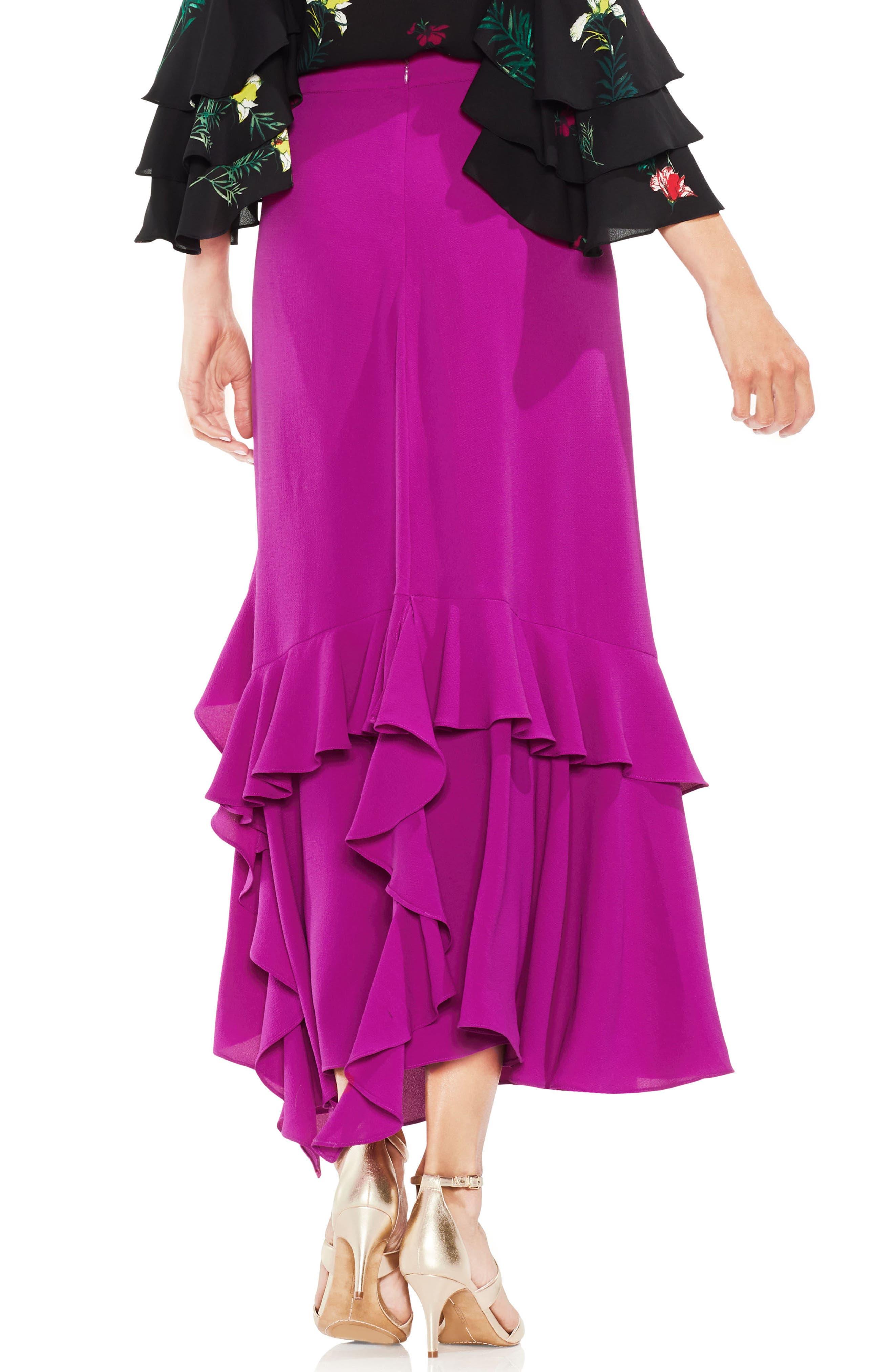 Tiered Ruffle Skirt,                             Alternate thumbnail 2, color,                             Fuchsia Fury