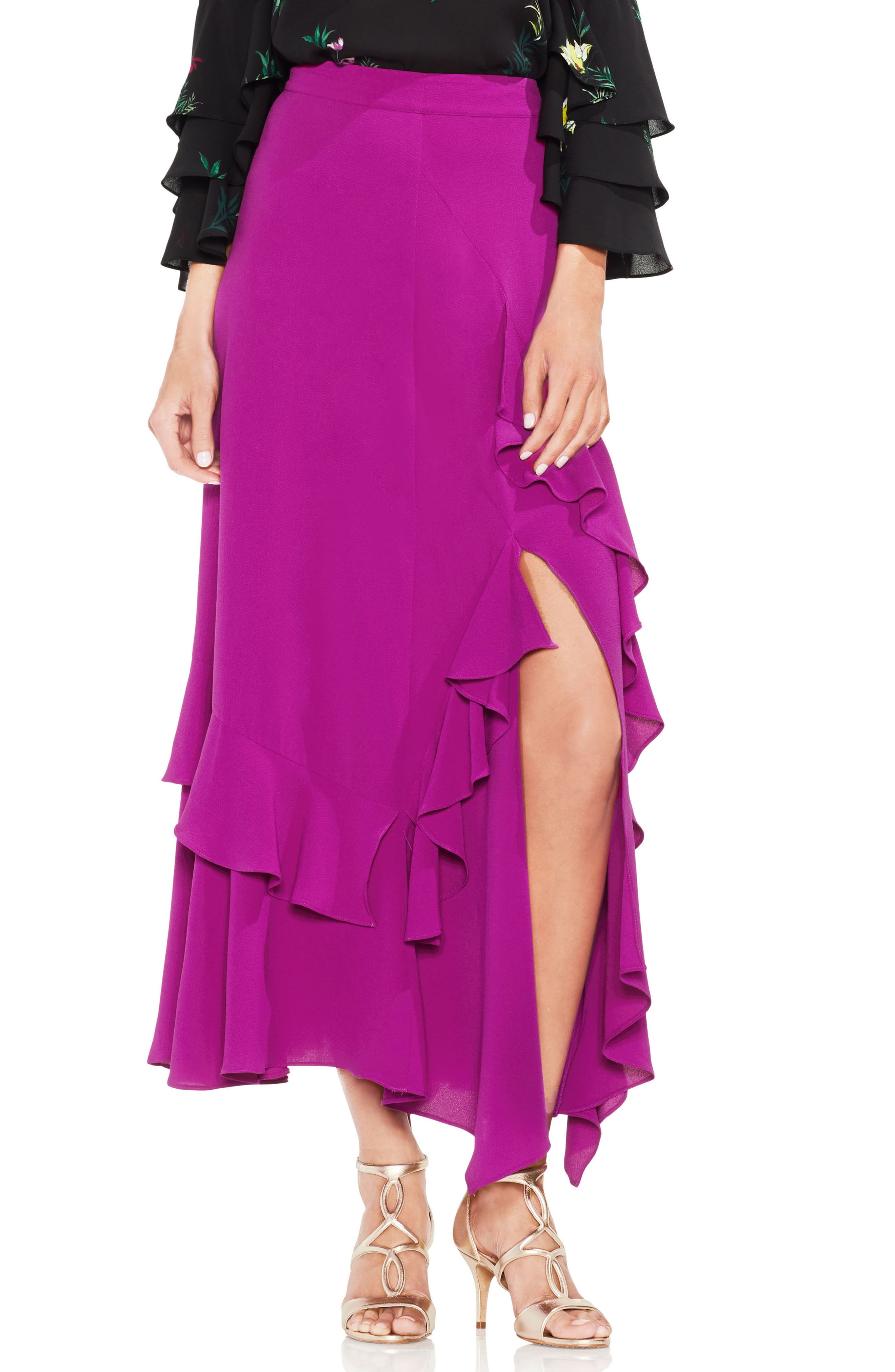 Tiered Ruffle Skirt,                             Main thumbnail 1, color,                             Fuchsia Fury
