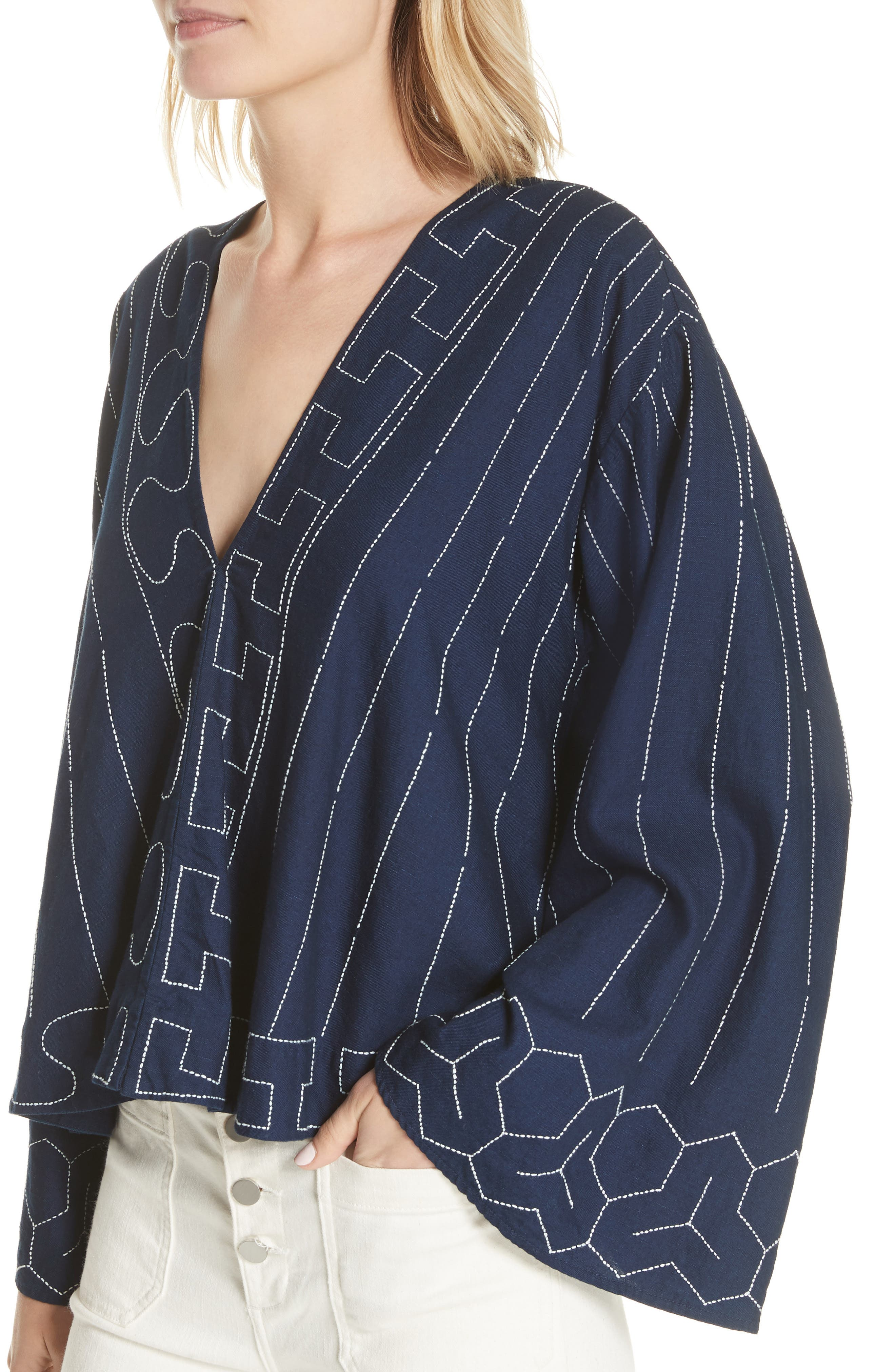 Orchid Embroidered Top,                             Alternate thumbnail 4, color,                             Dark Indigo