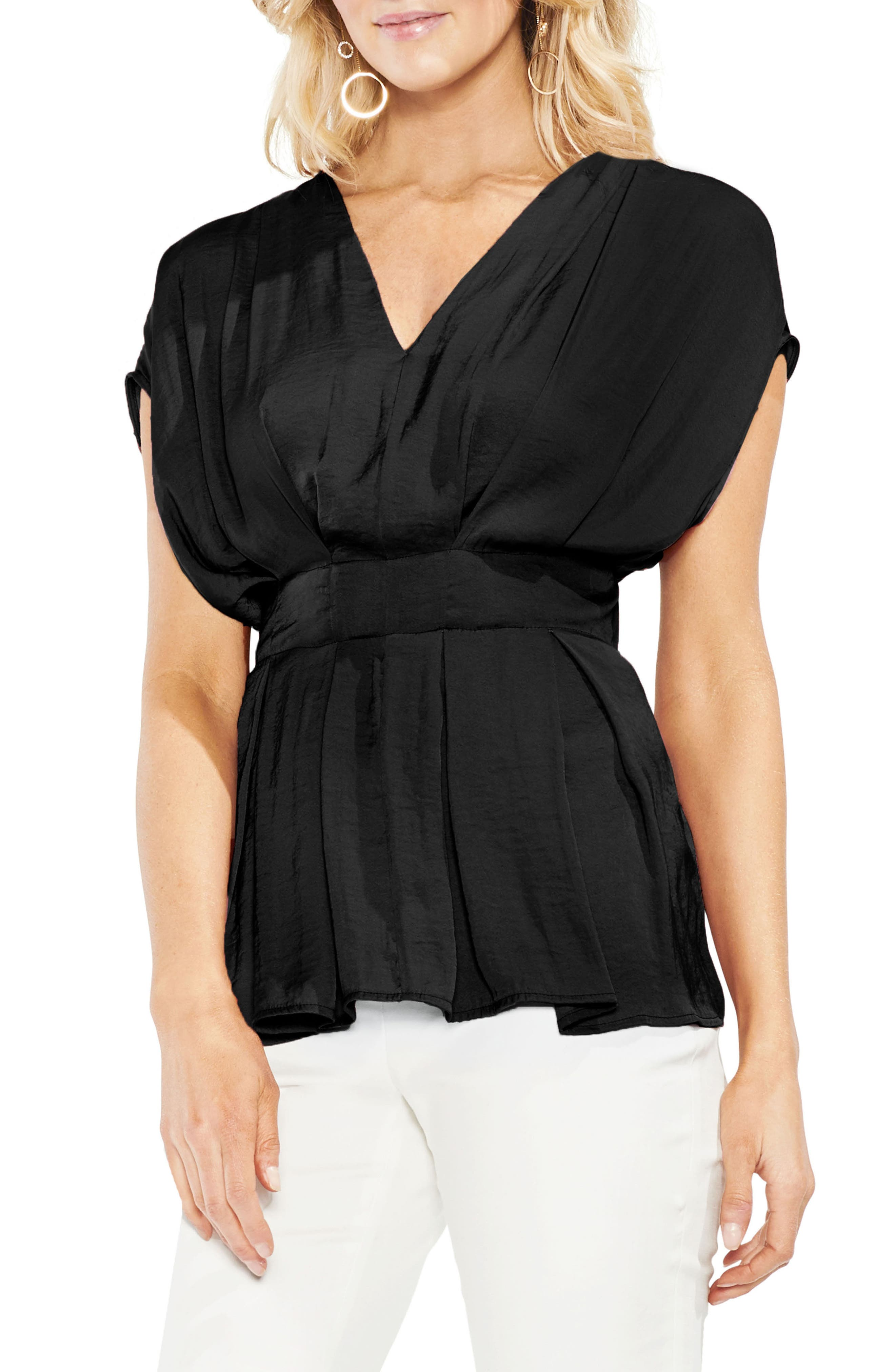 Empire Waist Hammered Satin Top,                         Main,                         color, Rich Black