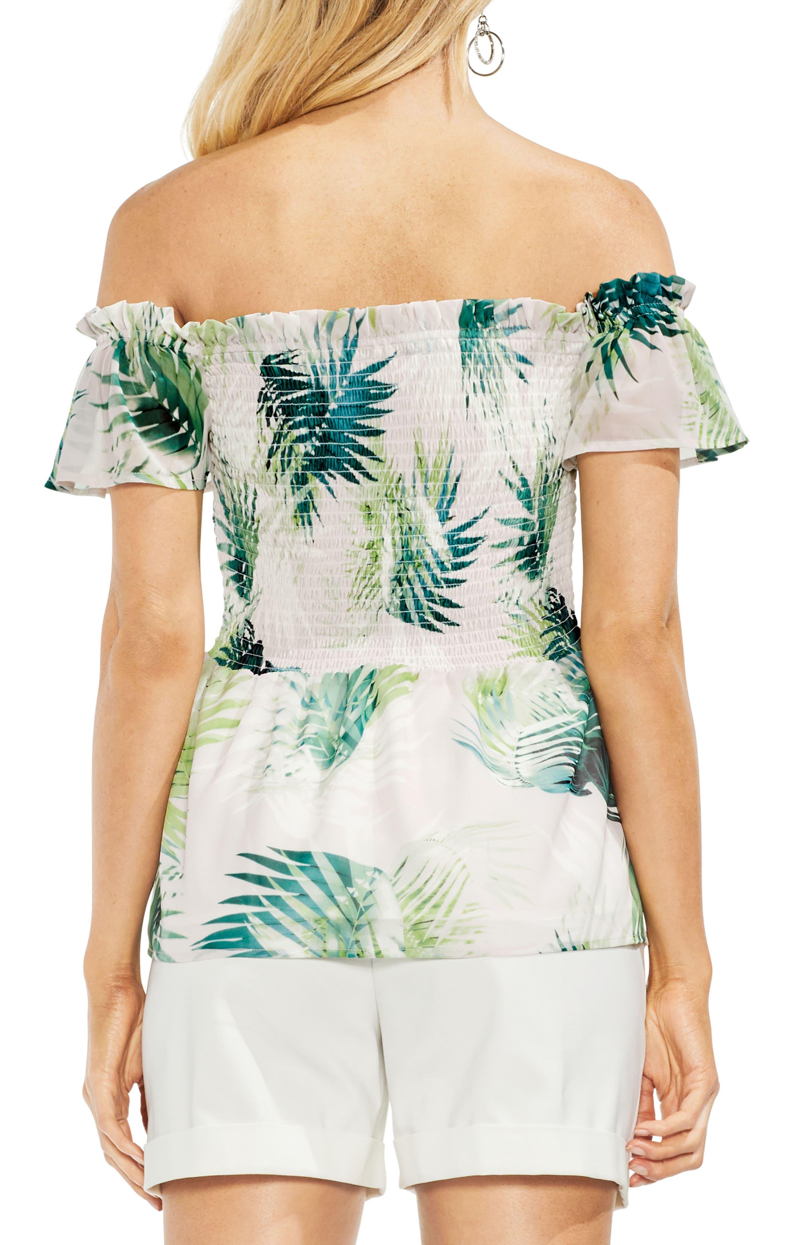 Sunlit Palm Off The Shoulder Top,                             Alternate thumbnail 2, color,                             Verdant Green