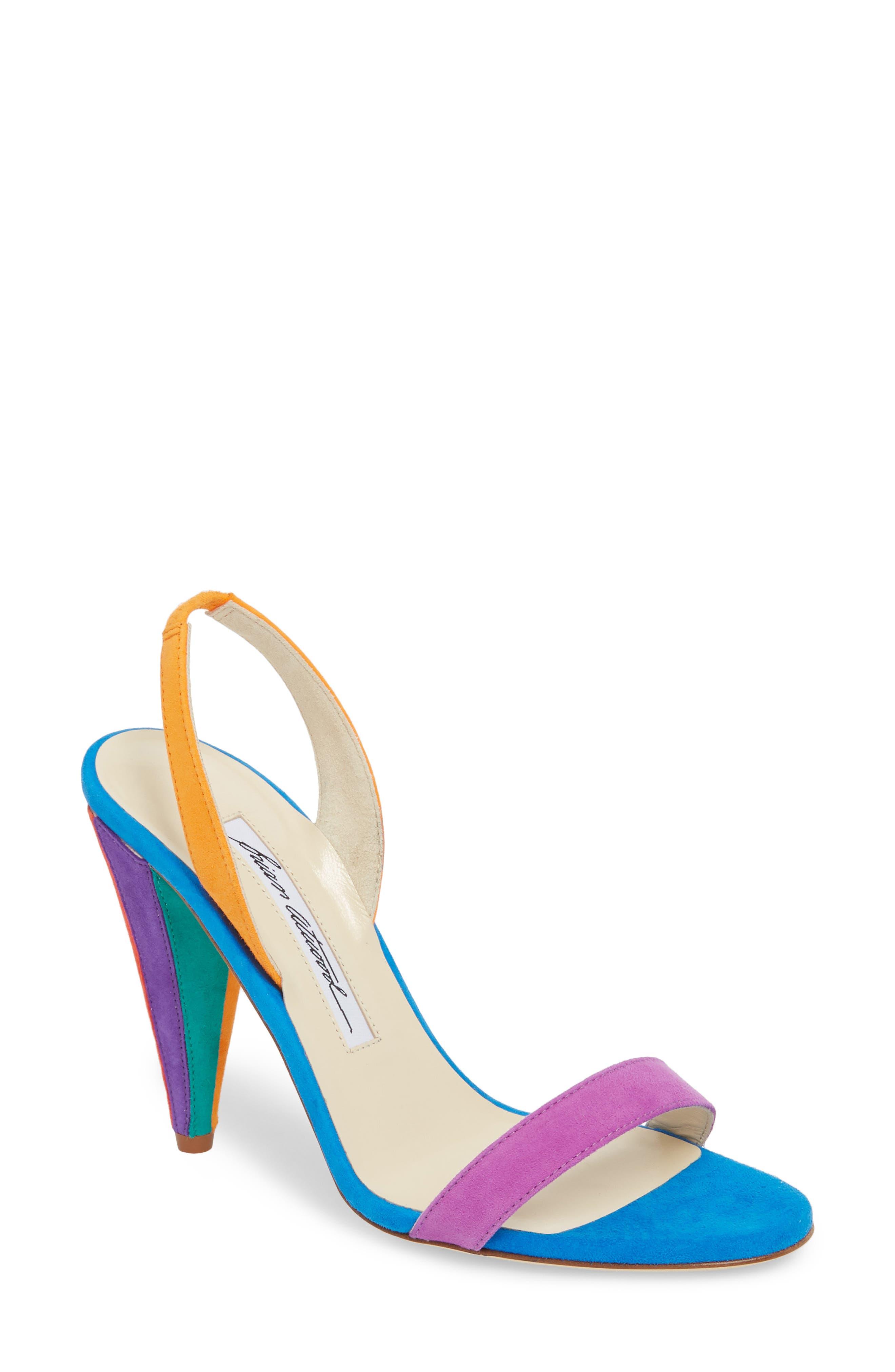 Susii Cone Heel Sandal,                         Main,                         color, Multi Color