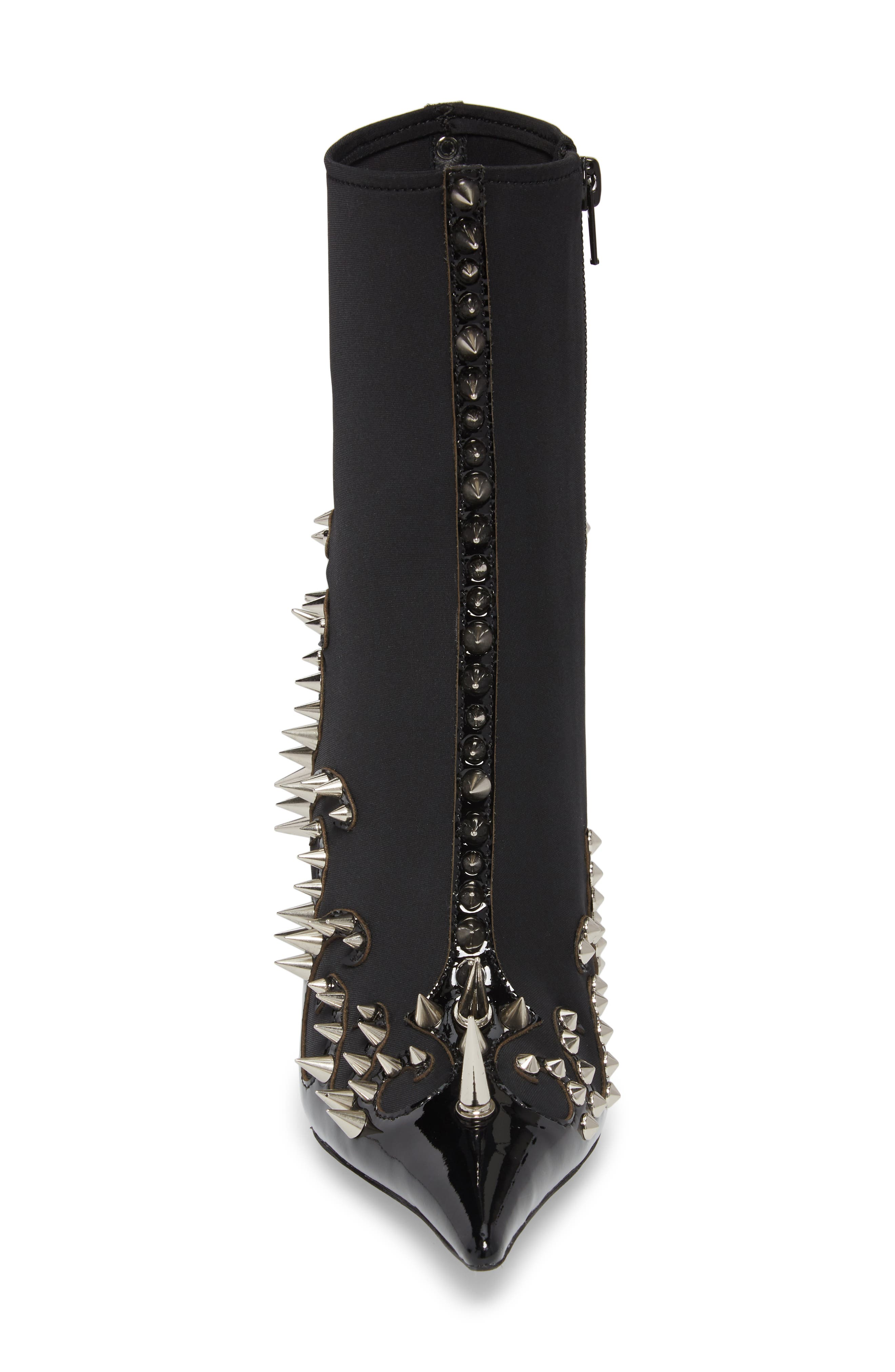 Savage Spike Bootie,                             Alternate thumbnail 4, color,                             Black/ Silver Patent Leather