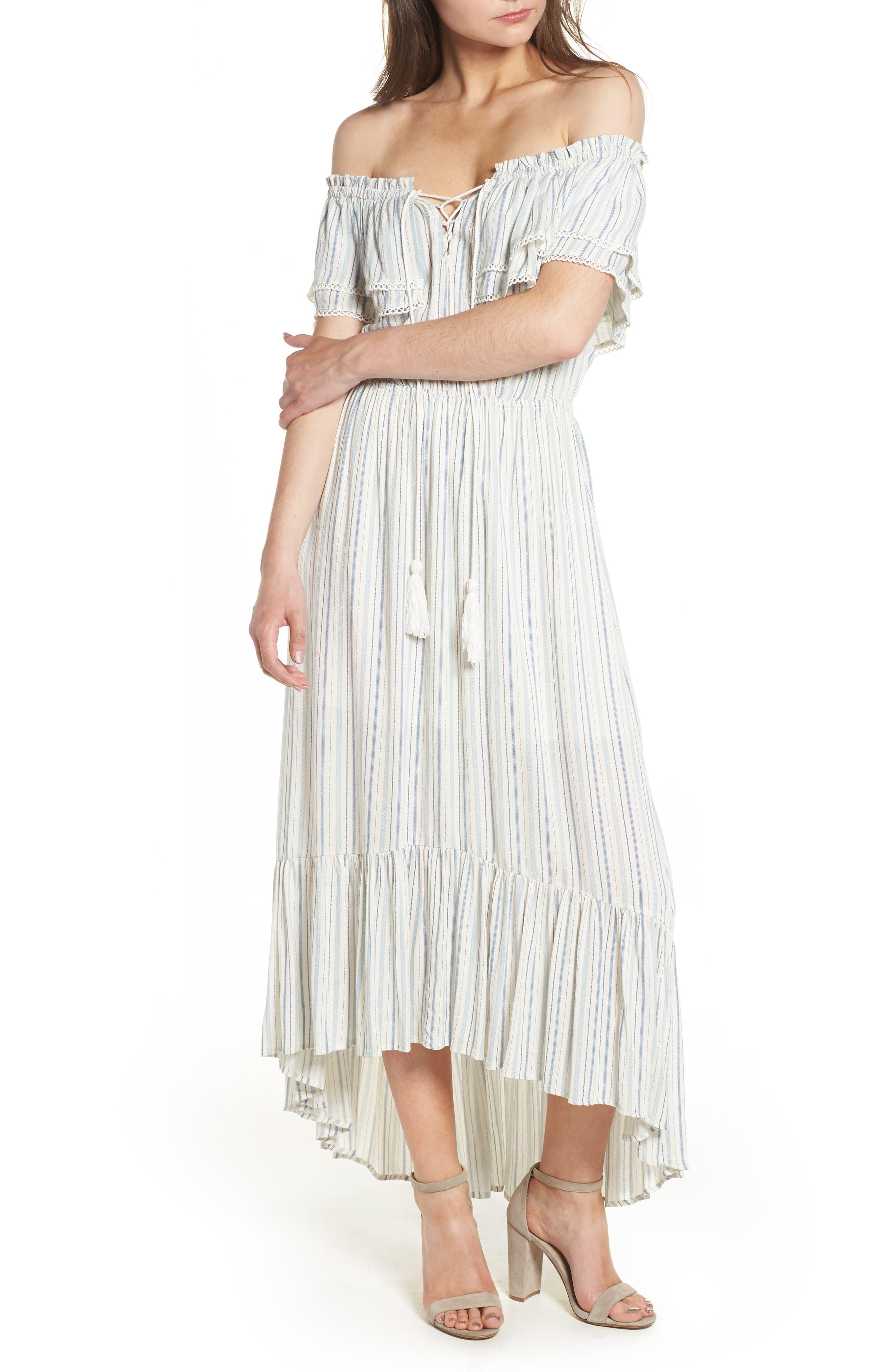 Kiara Off the Shoulder Maxi Dress,                         Main,                         color, Light Blue