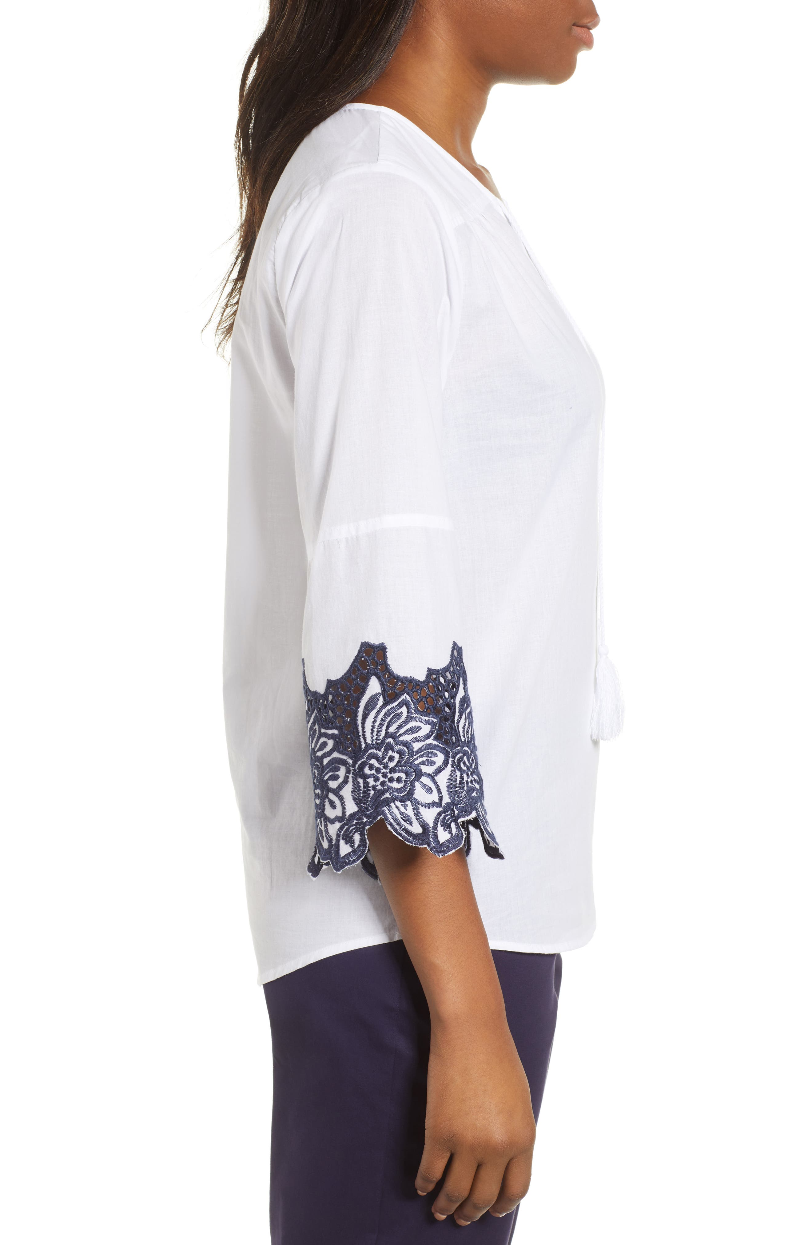 Bell Sleeve Embroidered Trim Blouse,                             Alternate thumbnail 3, color,                             Ultra White