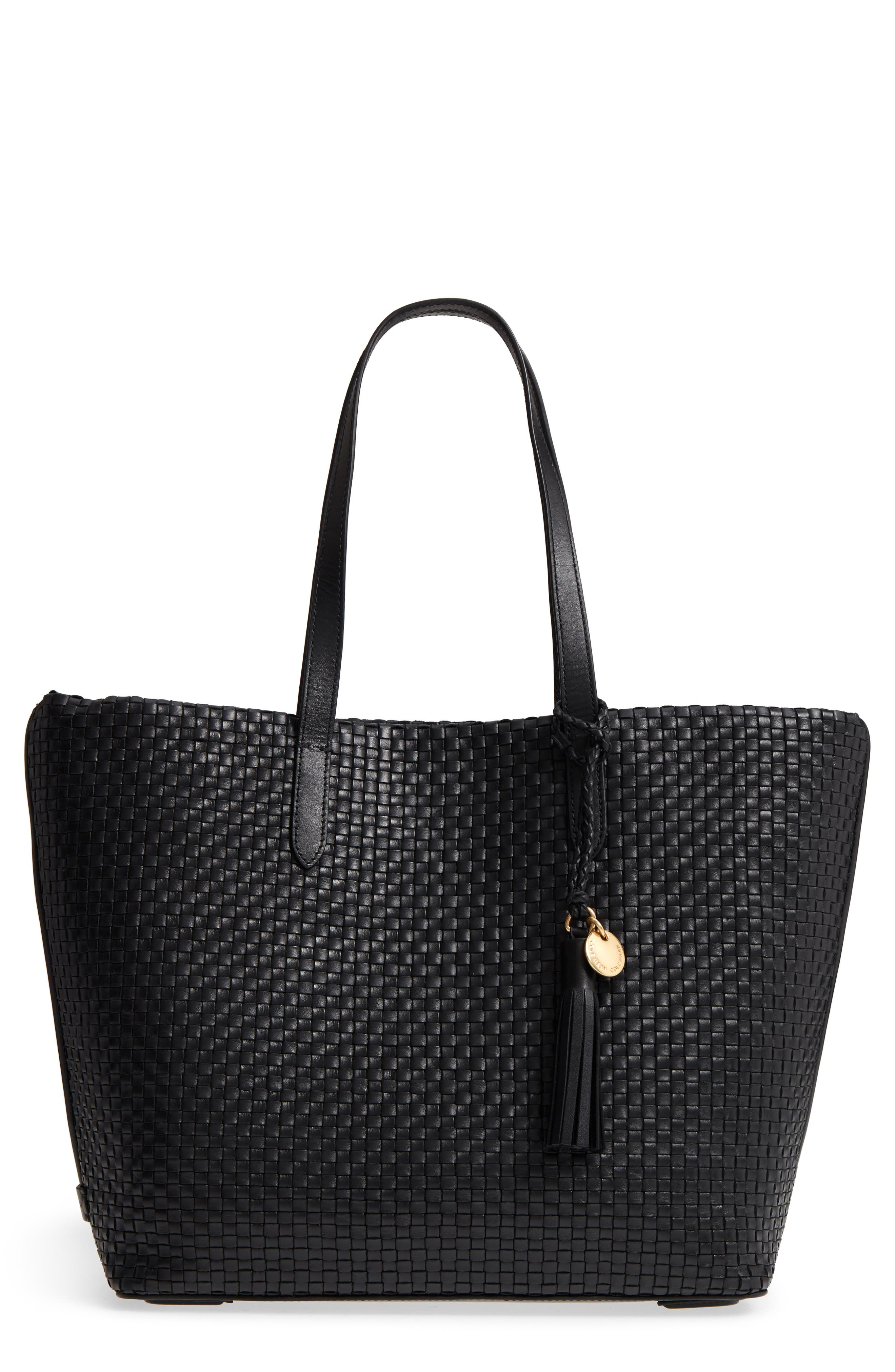 Payson RFID Woven Leather Tote,                             Main thumbnail 1, color,                             Black