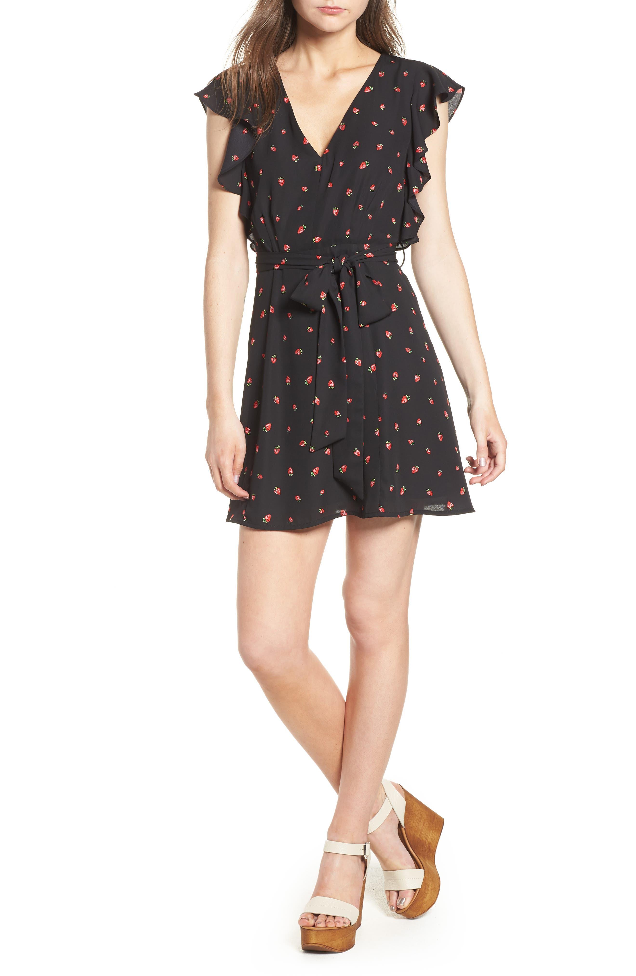 Ruffle Sleeve Dress,                             Main thumbnail 1, color,                             Strawberry Print