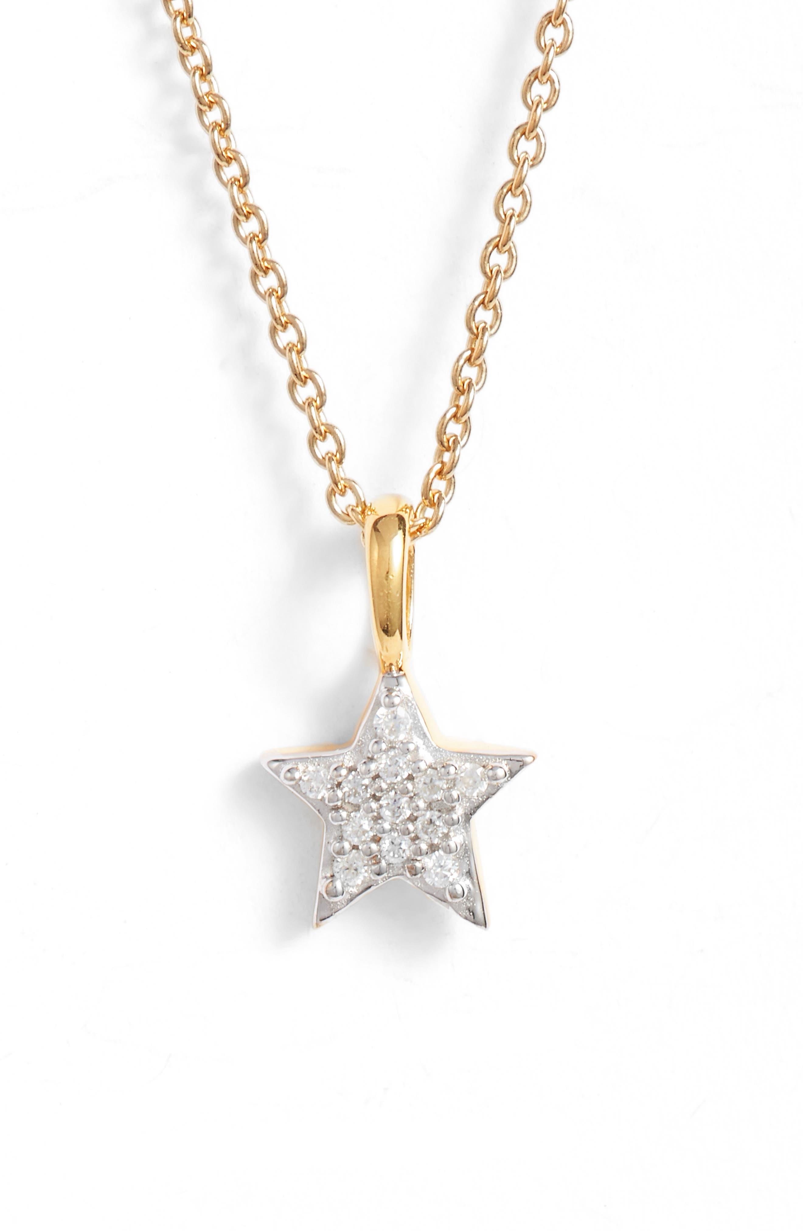 Pavé Star Pendant Necklace,                         Main,                         color, Gold
