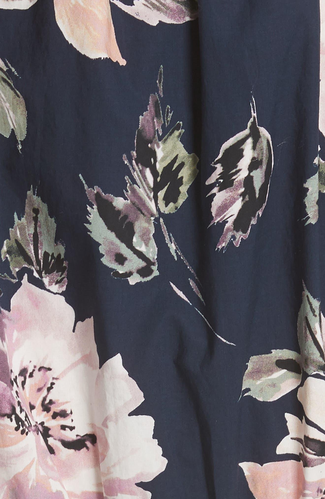 Magnolia Crop Jumpsuit,                             Alternate thumbnail 5, color,                             Blueberry Combo