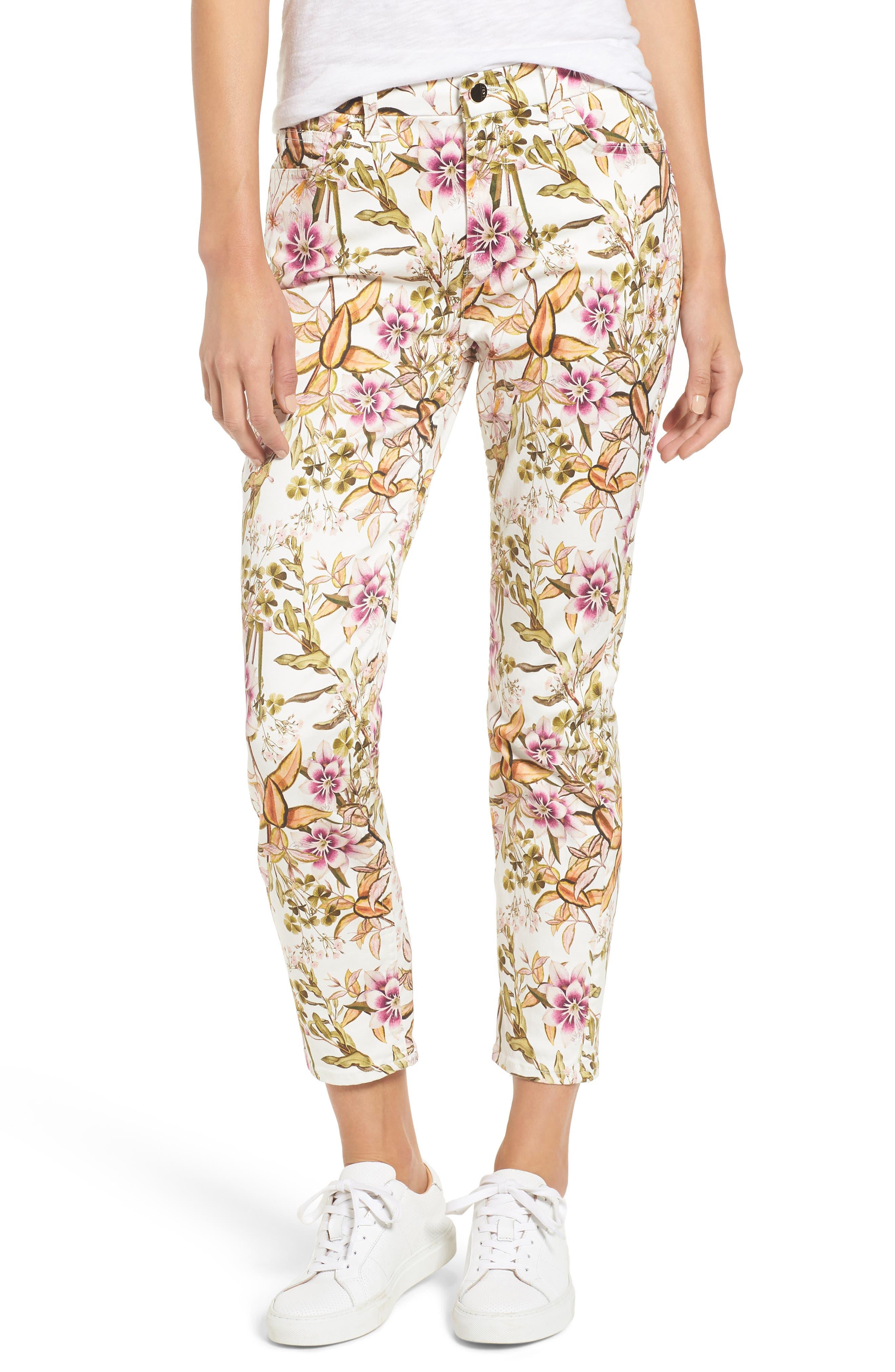Floral Print Ankle Skinny Jeans,                             Main thumbnail 1, color,                             Havana Tropics