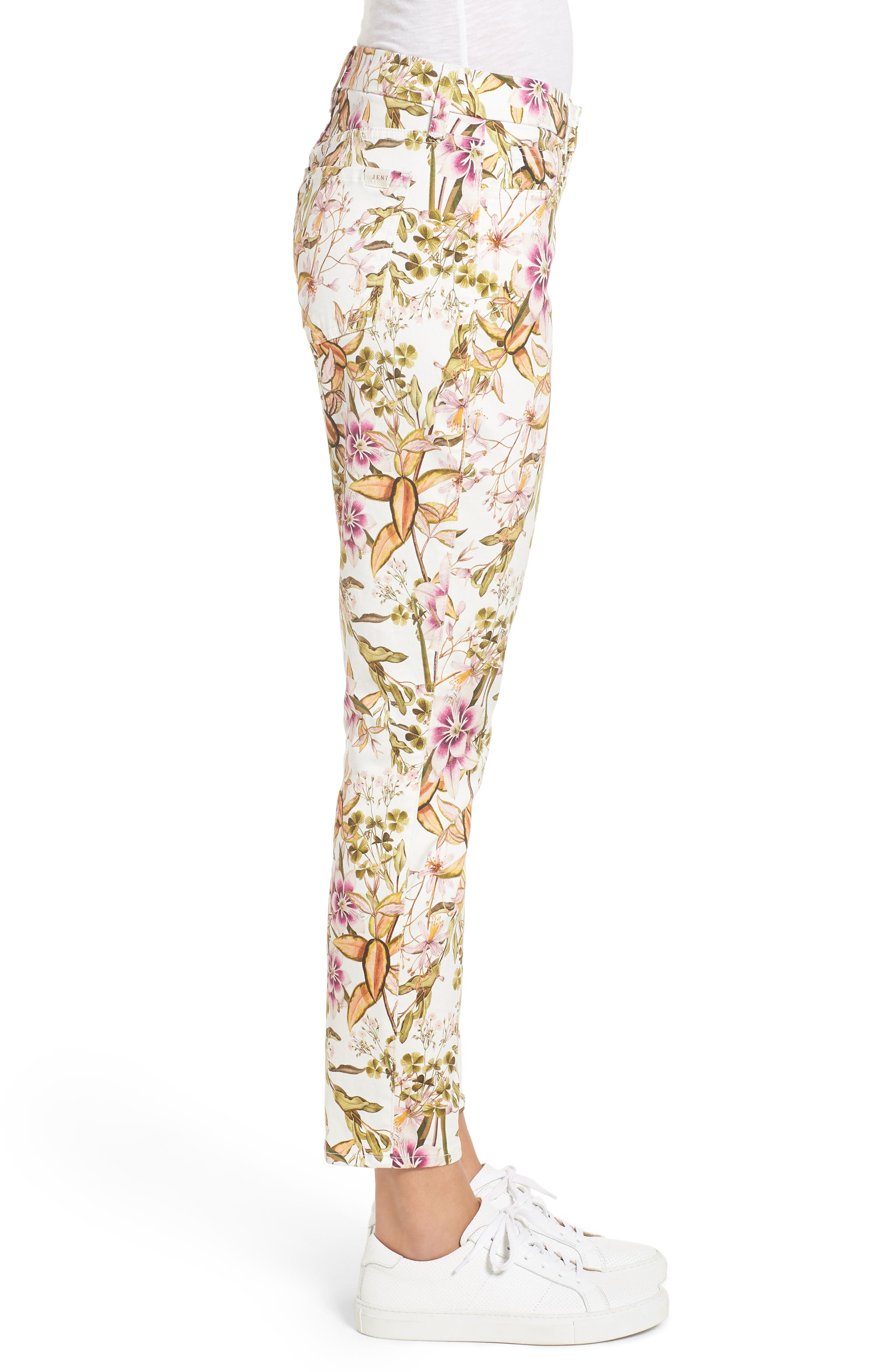 Floral Print Ankle Skinny Jeans,                             Alternate thumbnail 3, color,                             Havana Tropics