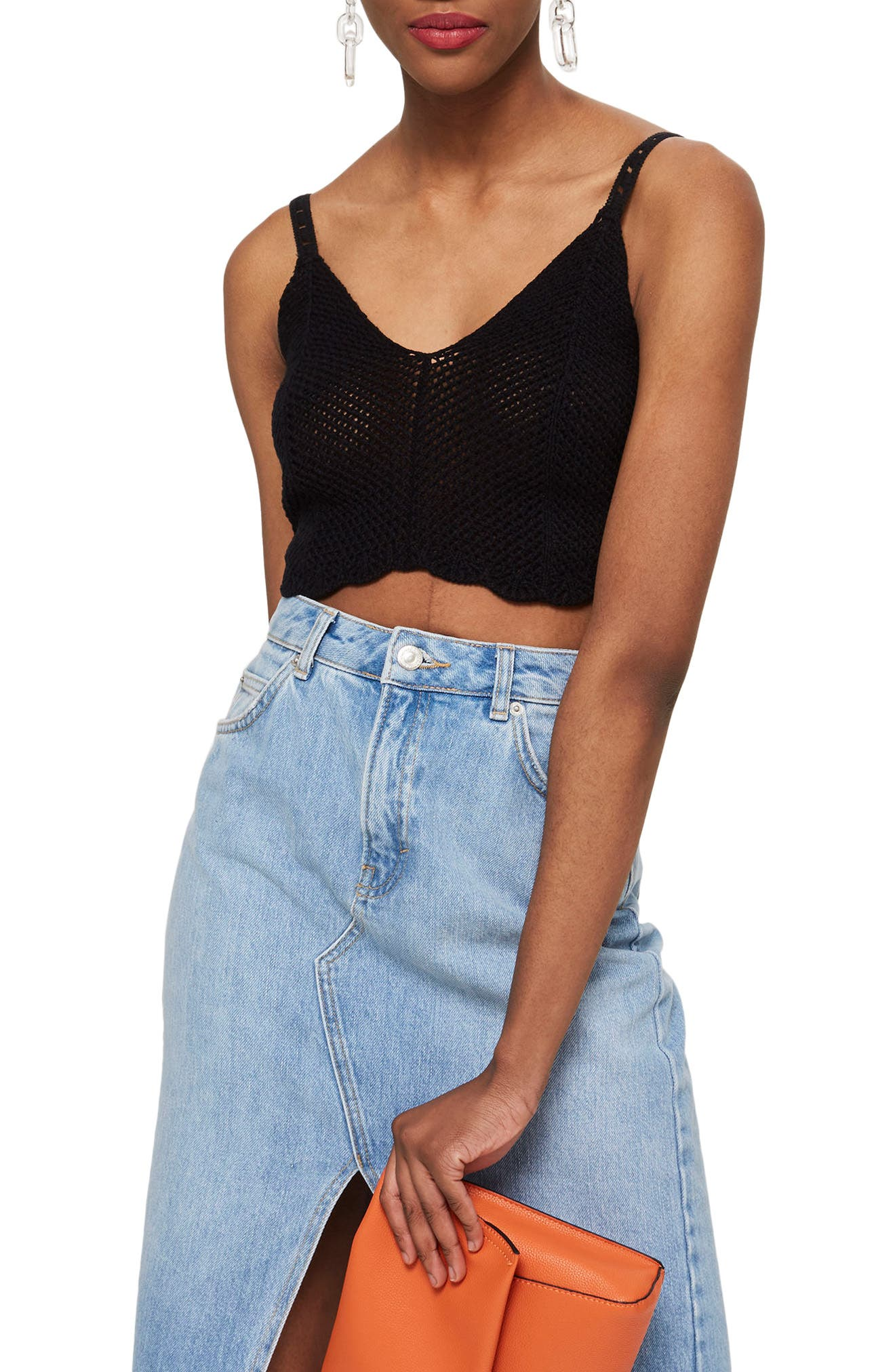 Scallop Edge Bralette,                             Main thumbnail 1, color,                             Black