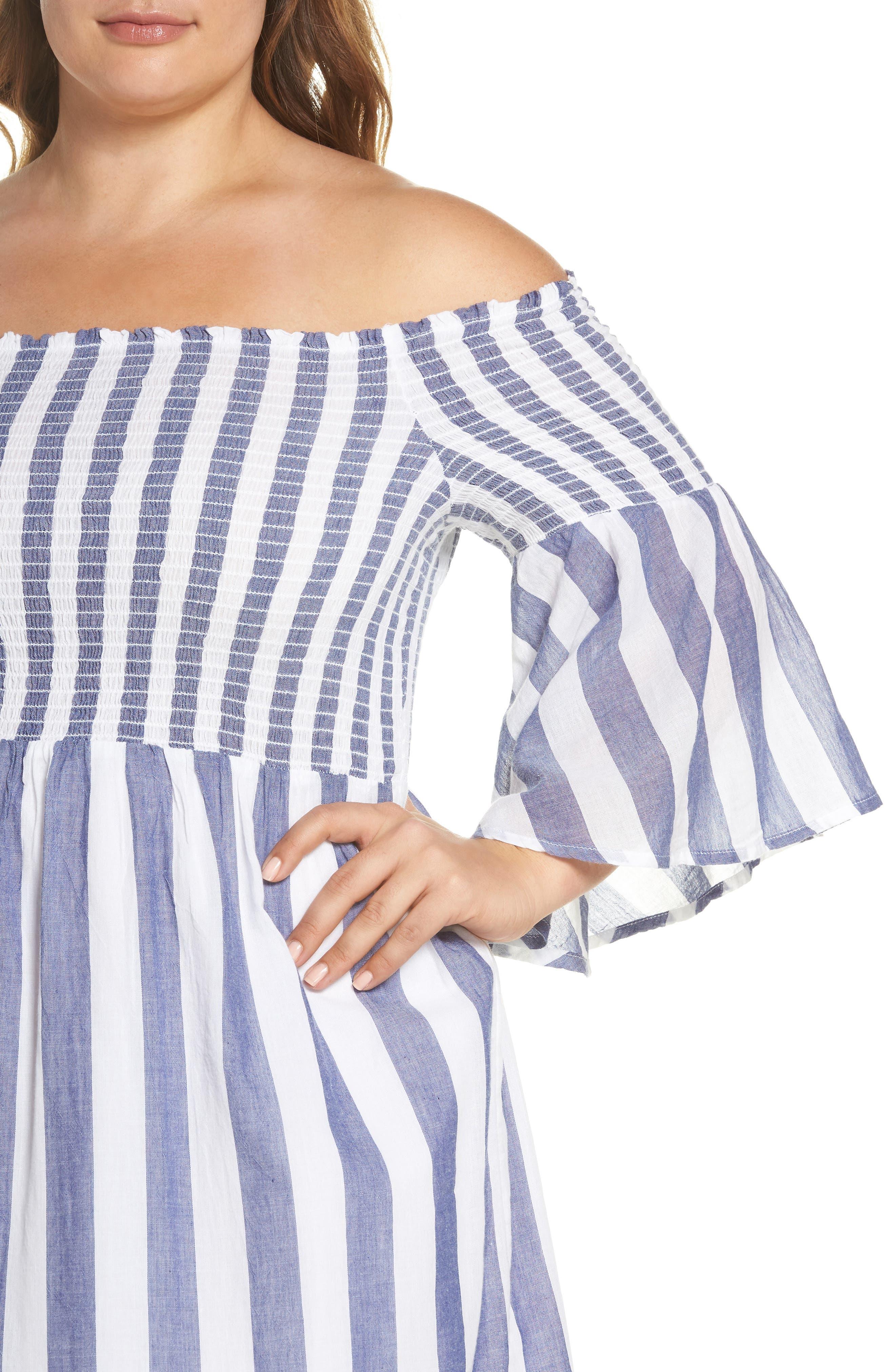 Off the Shoulder Stripe Smocked Dress,                             Alternate thumbnail 4, color,                             Blue Multi
